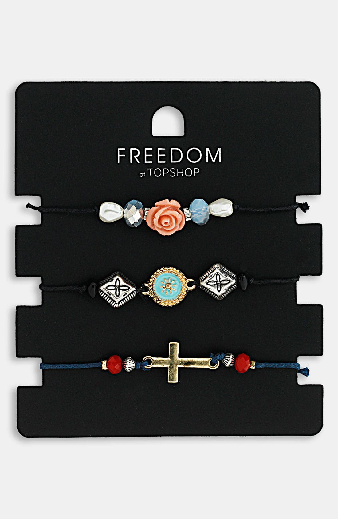 Main Image - Topshop Charm Bracelets (Set of 3)