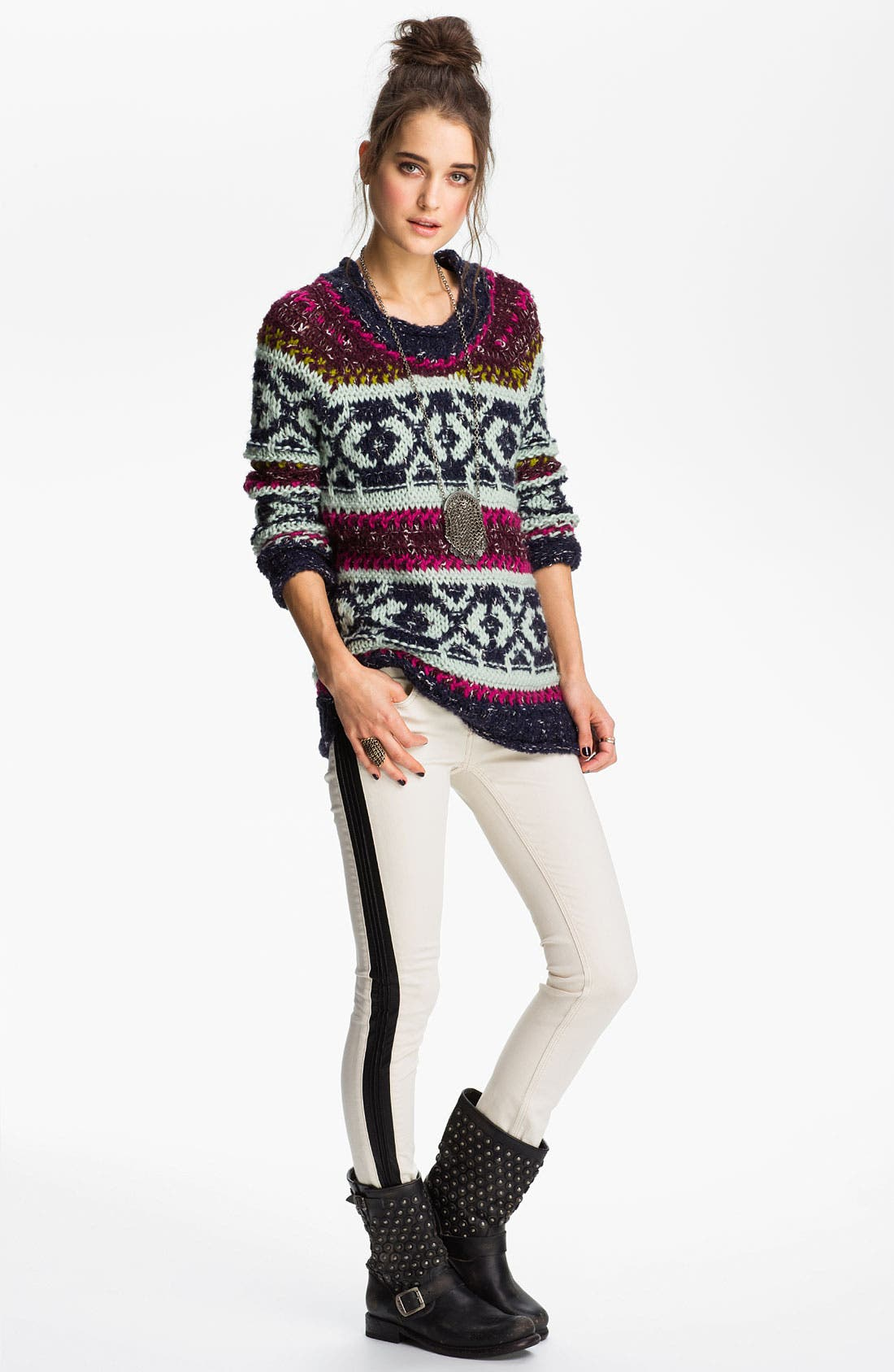 Alternate Image 1 Selected - Free People 'Silver Reed' Chunky Sweater