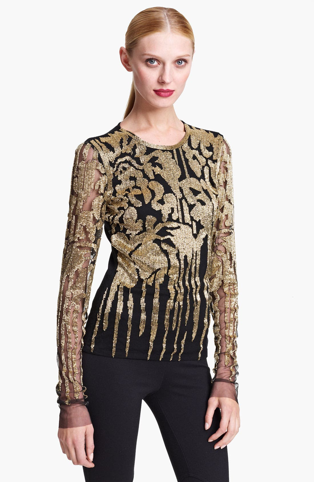 Alternate Image 1 Selected - Naeem Khan Embroidered Cashmere Top