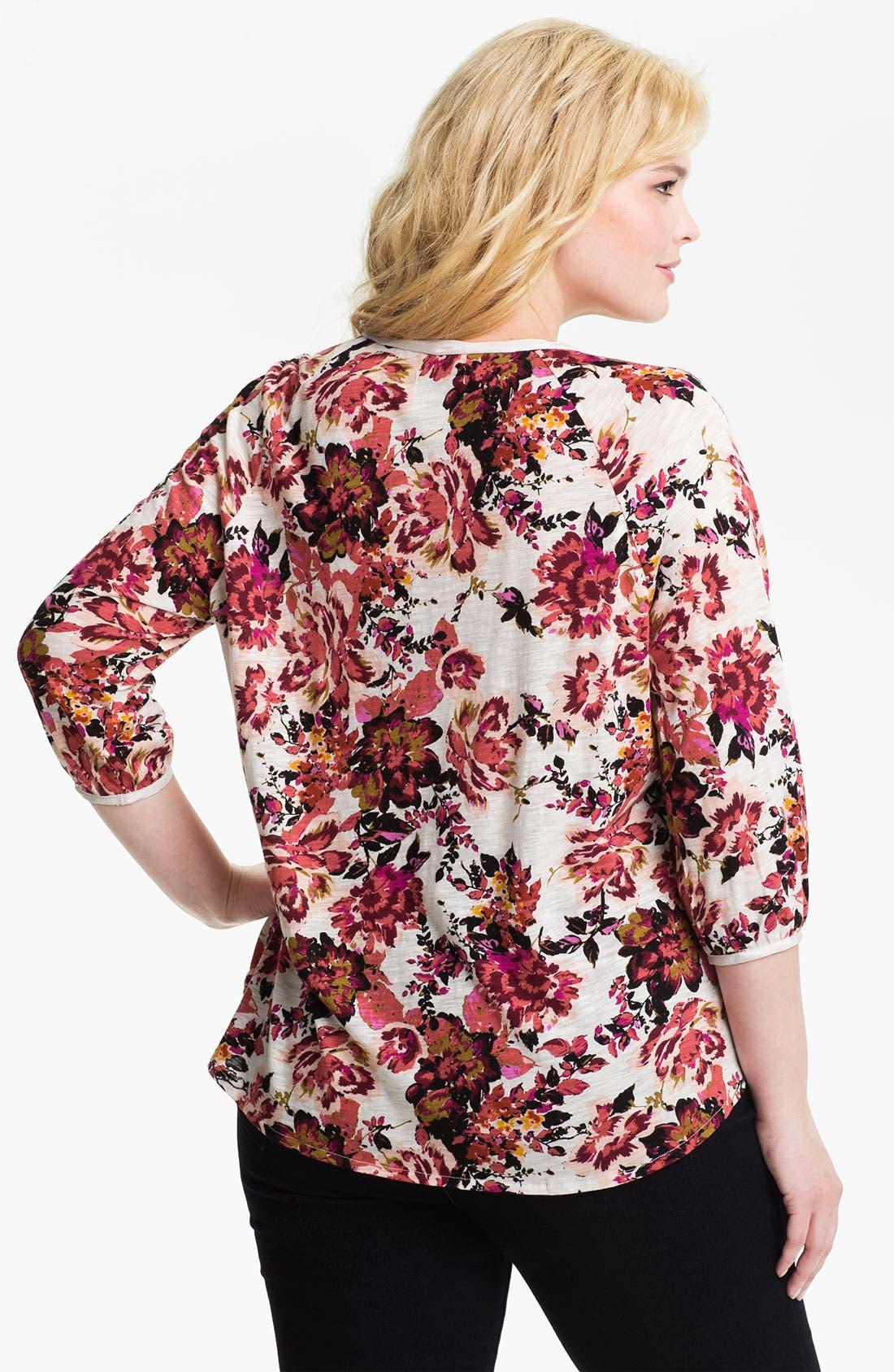 Alternate Image 2  - Lucky Brand 'Painterly Rose Kara' Top (Plus)