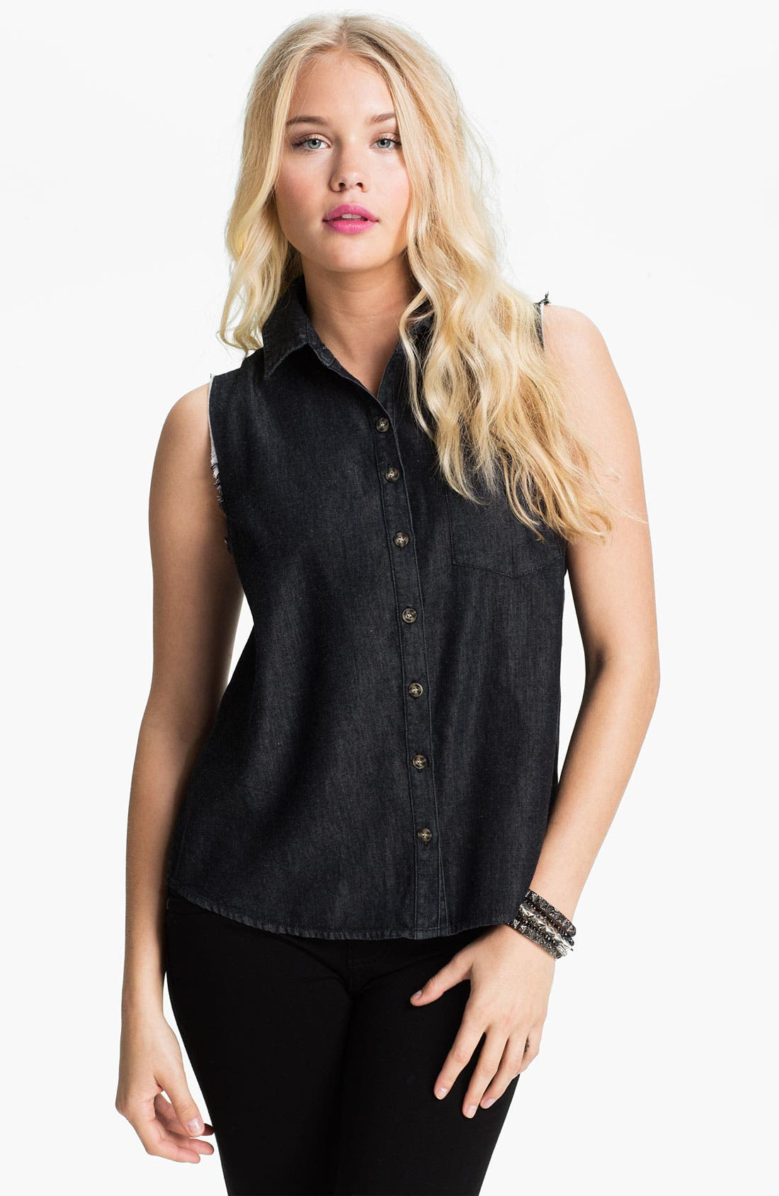 Main Image - Mimi Chica Split Back Cutoff Chambray Shirt (Juniors)