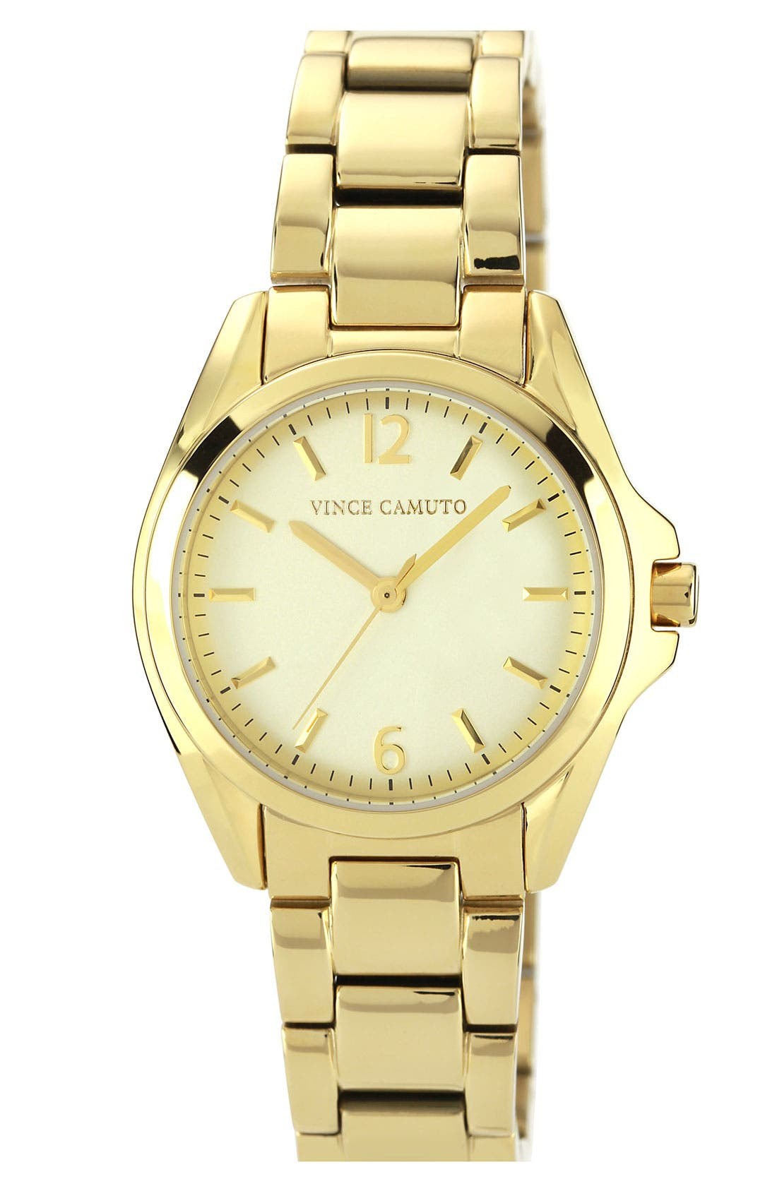 Main Image - Vince Camuto Curved Crystal Bracelet Watch, 32mm