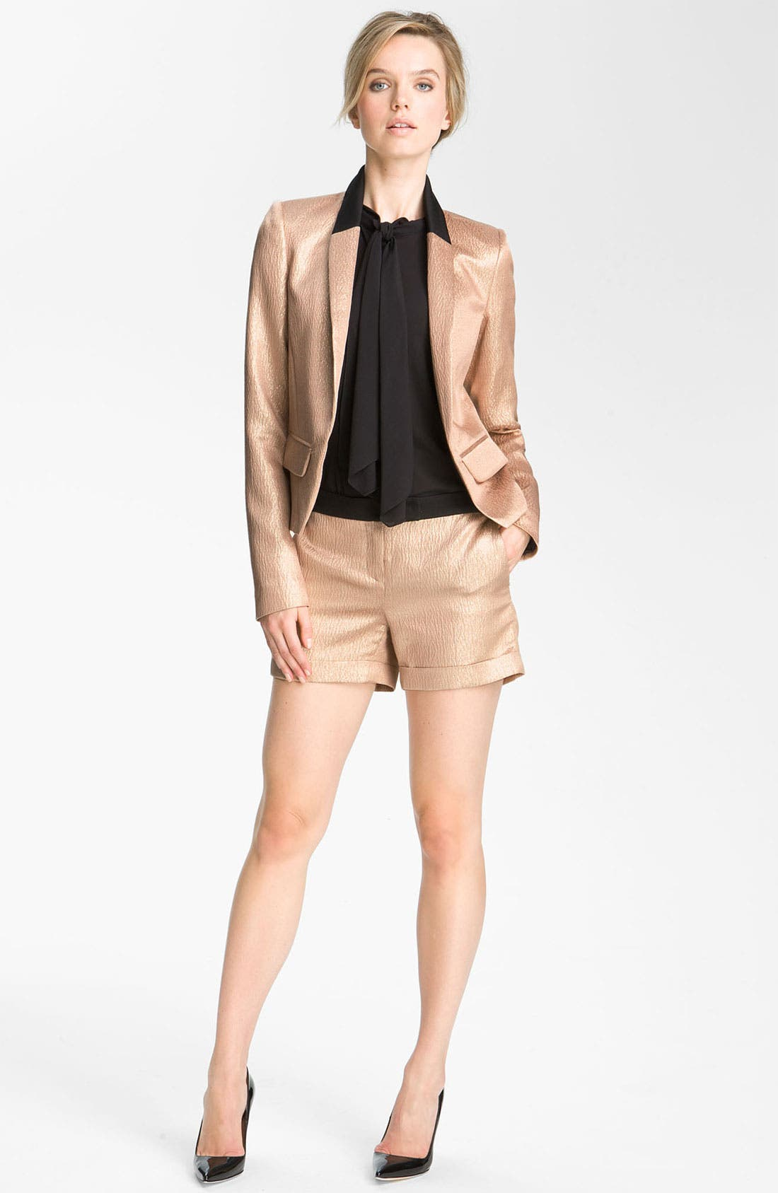 Alternate Image 1 Selected - Derek Lam 10 Crosby Metallic Silk Shorts