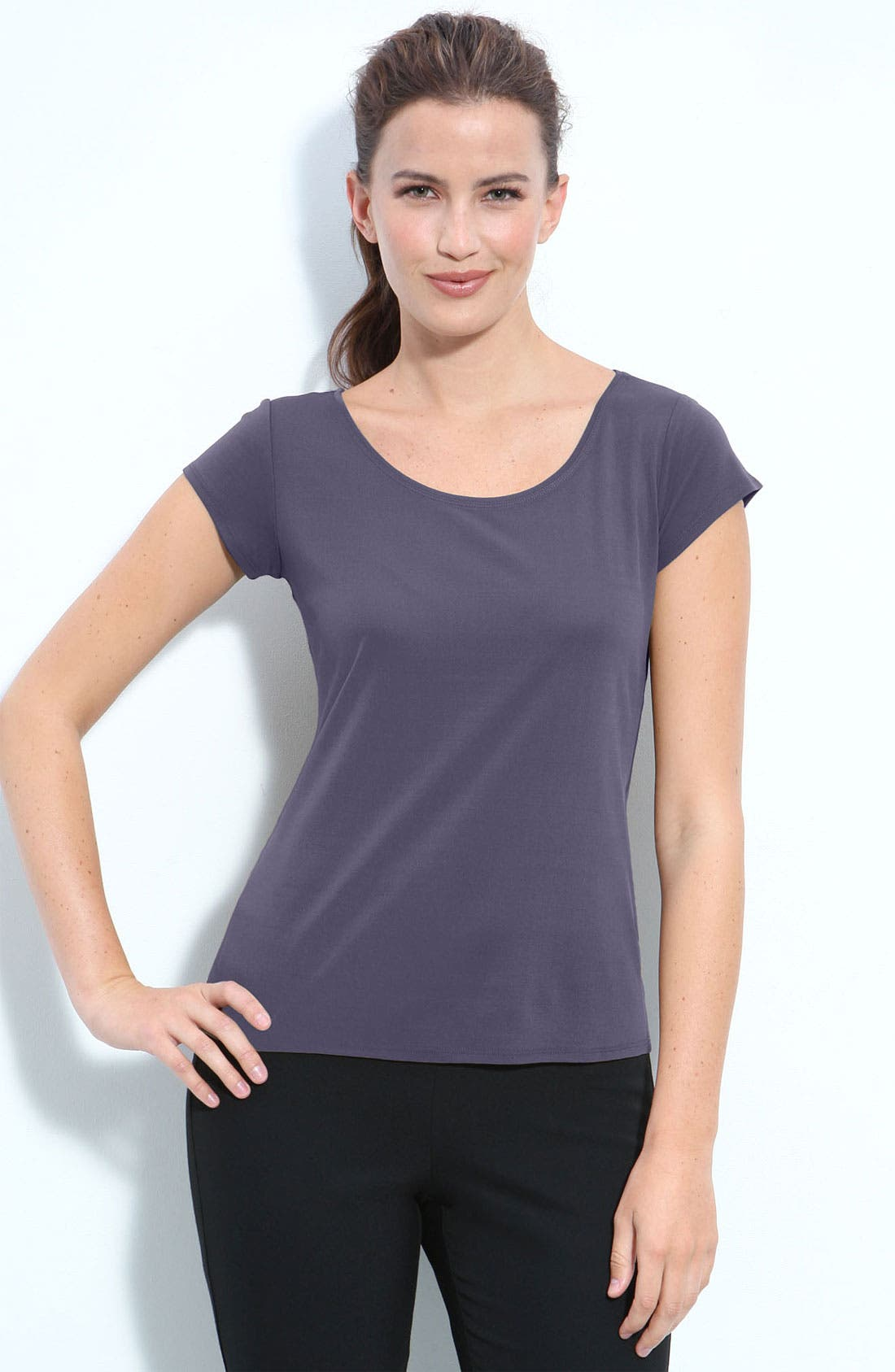 Alternate Image 1 Selected - Eileen Fisher Silk Jersey Tee (Petite)
