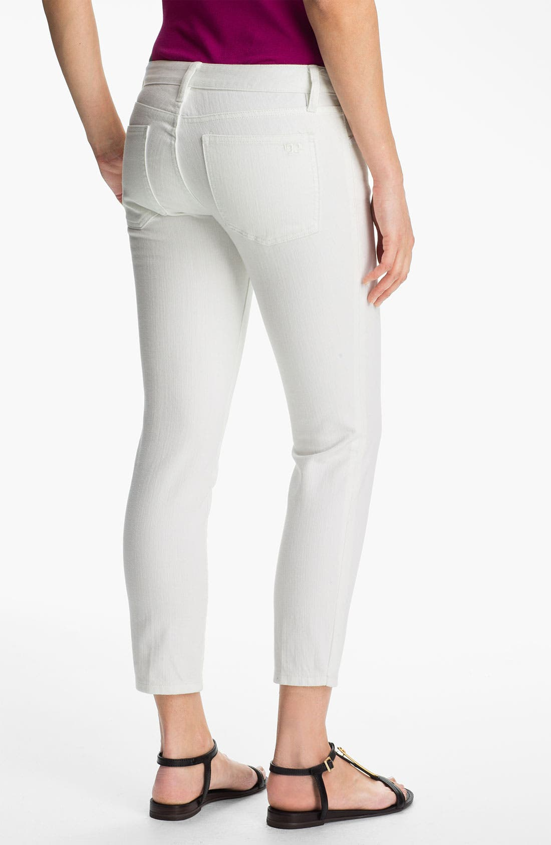 Alternate Image 2  - Tory Burch 'Alexa' Crop Skinny Stretch Jeans (Stone)