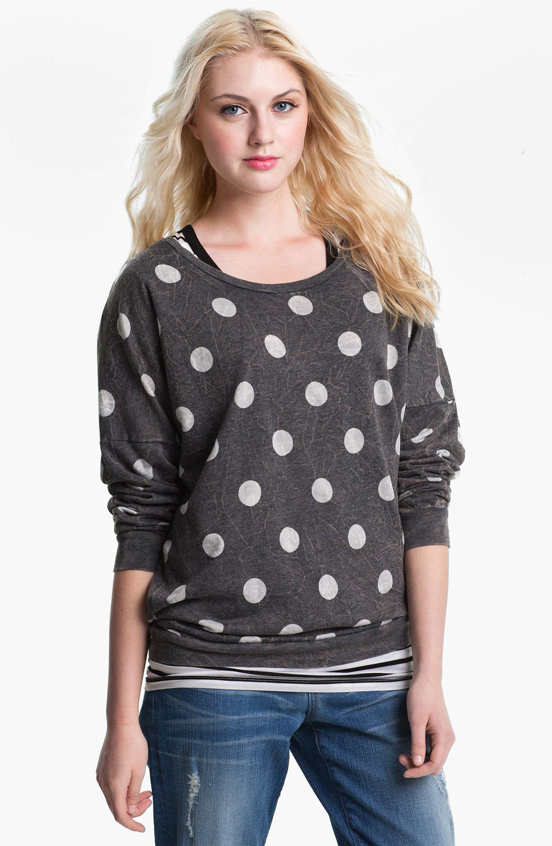 Alternate Image 1 Selected - Current Affair Distressed Dot Sweatshirt