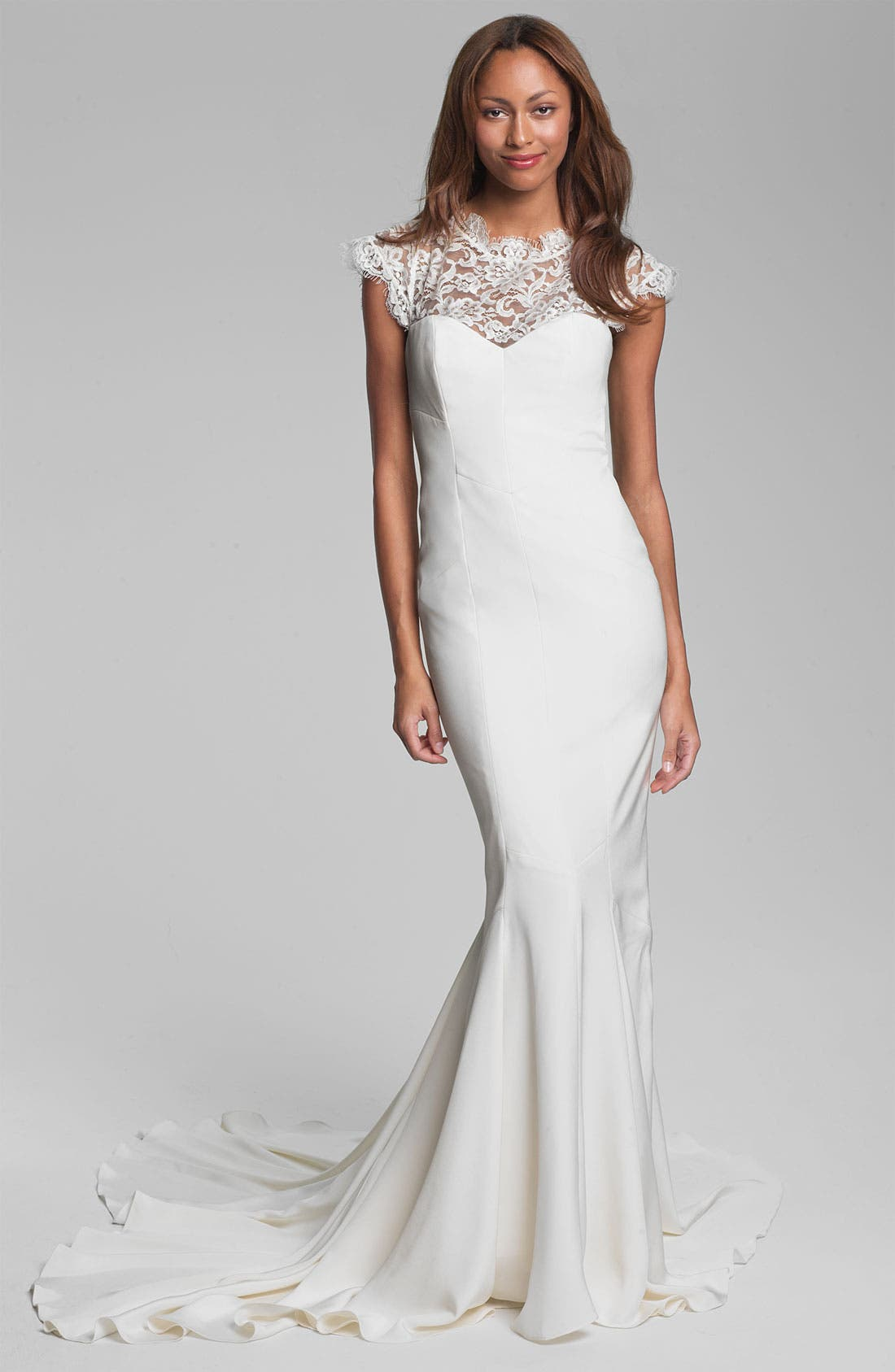 Alternate Image 1 Selected - Nicole Miller 'Lauren' Lace Yoke Satin & Charmeuse Mermaid Gown