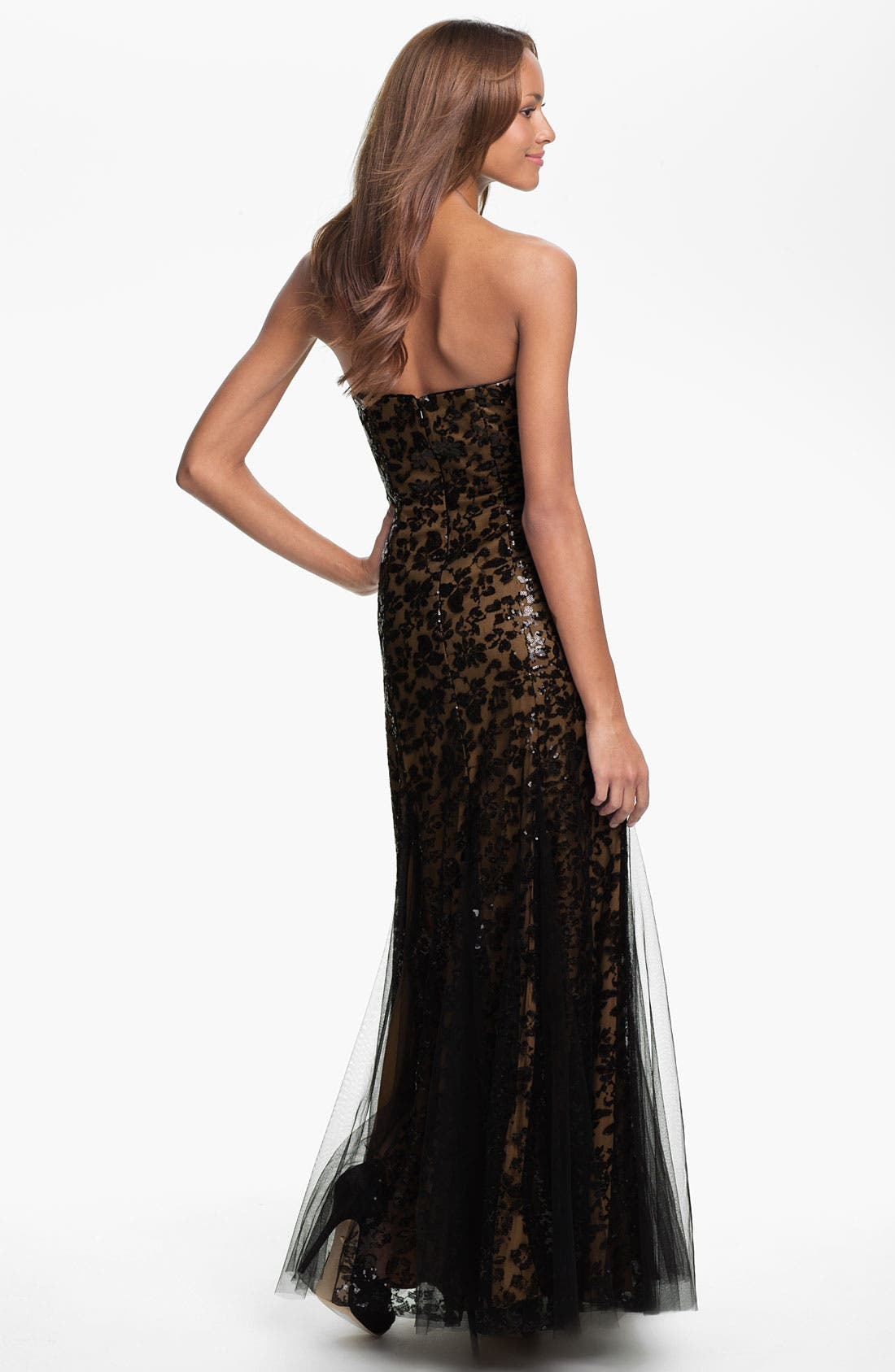 Alternate Image 2  - Sean Collection Strapless Sequin Mesh Overlay Gown