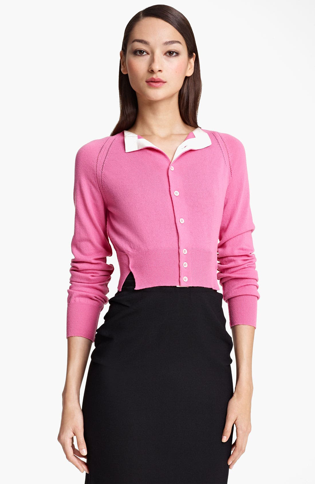 Alternate Image 1 Selected - Nina Ricci Contrast Lapel Crop Cashmere Cardigan