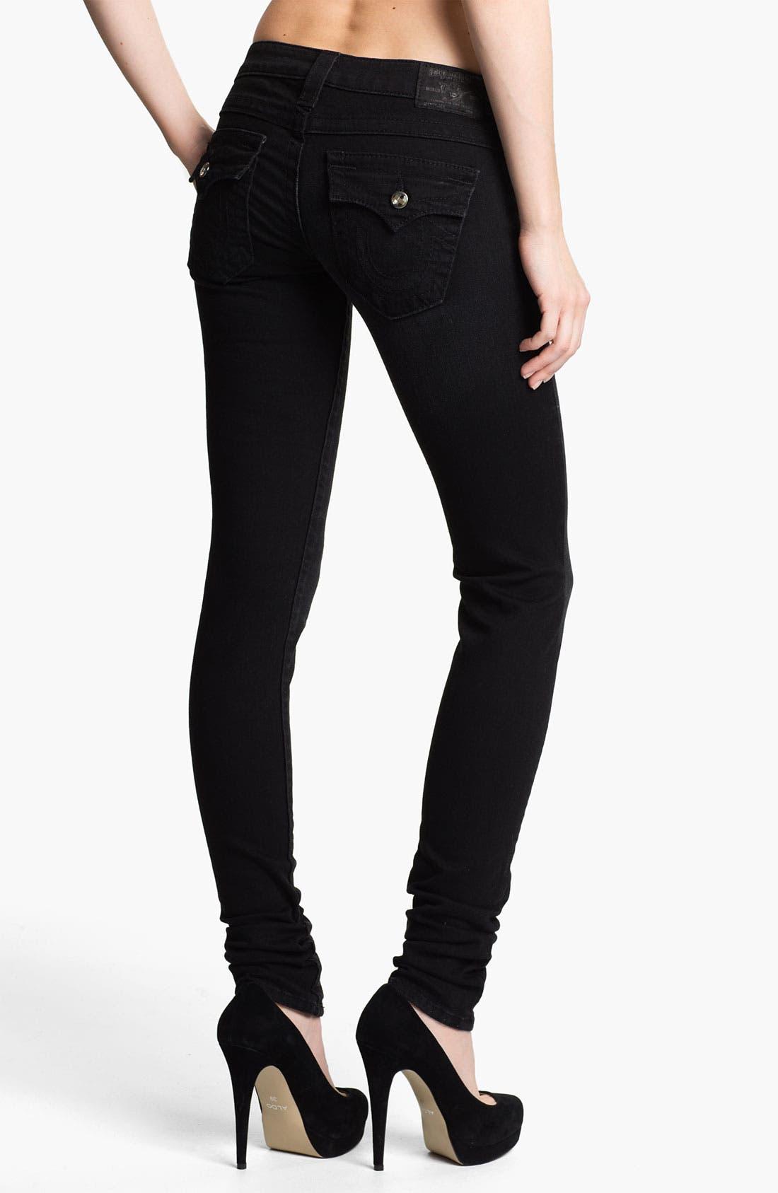 Alternate Image 2  - True Religion Brand Jeans 'Julie' Crystal Button Skinny Jeans (Lonestar)