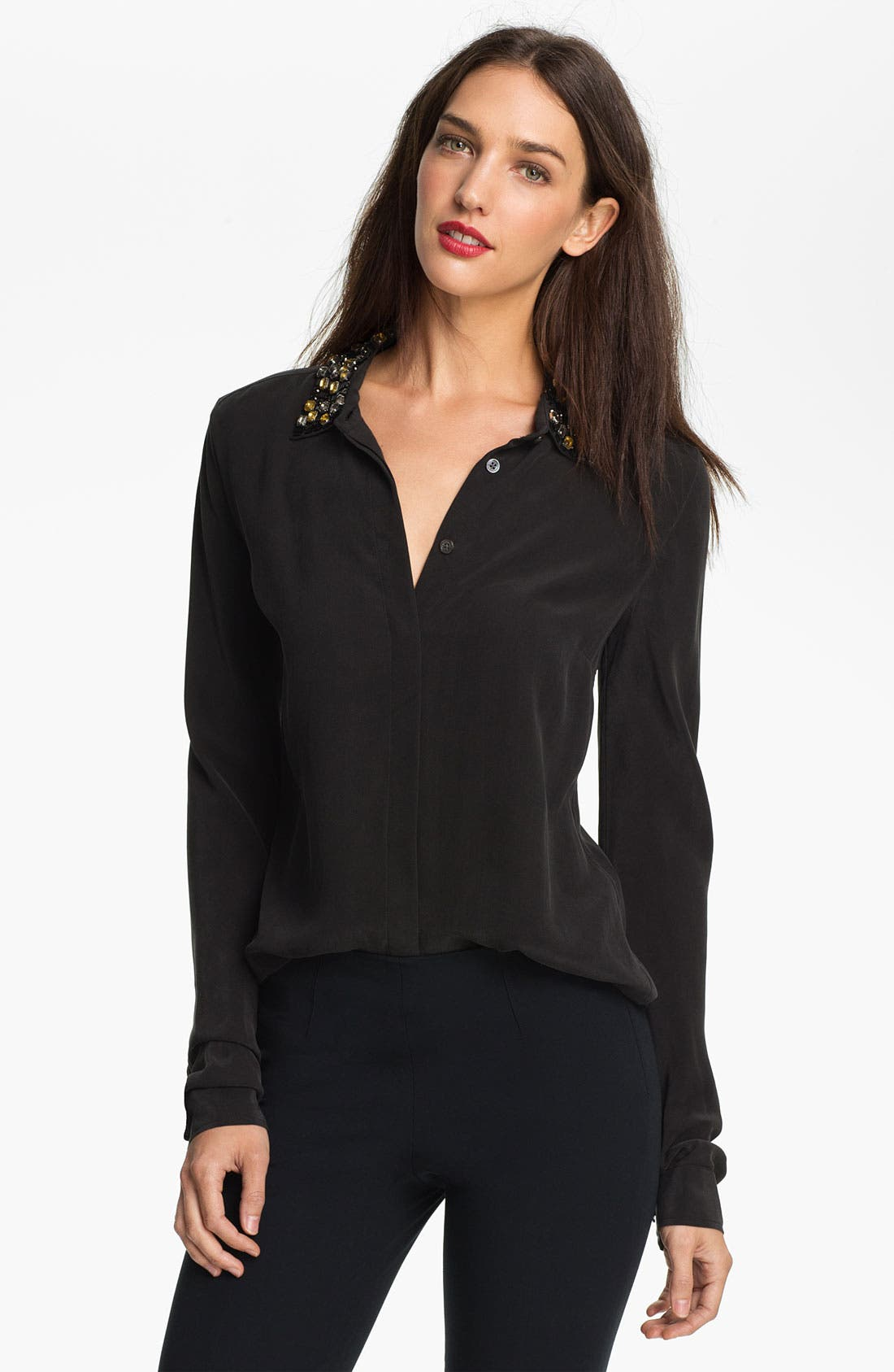 Main Image - Equipment 'Lowe' Embellished Silk Shirt