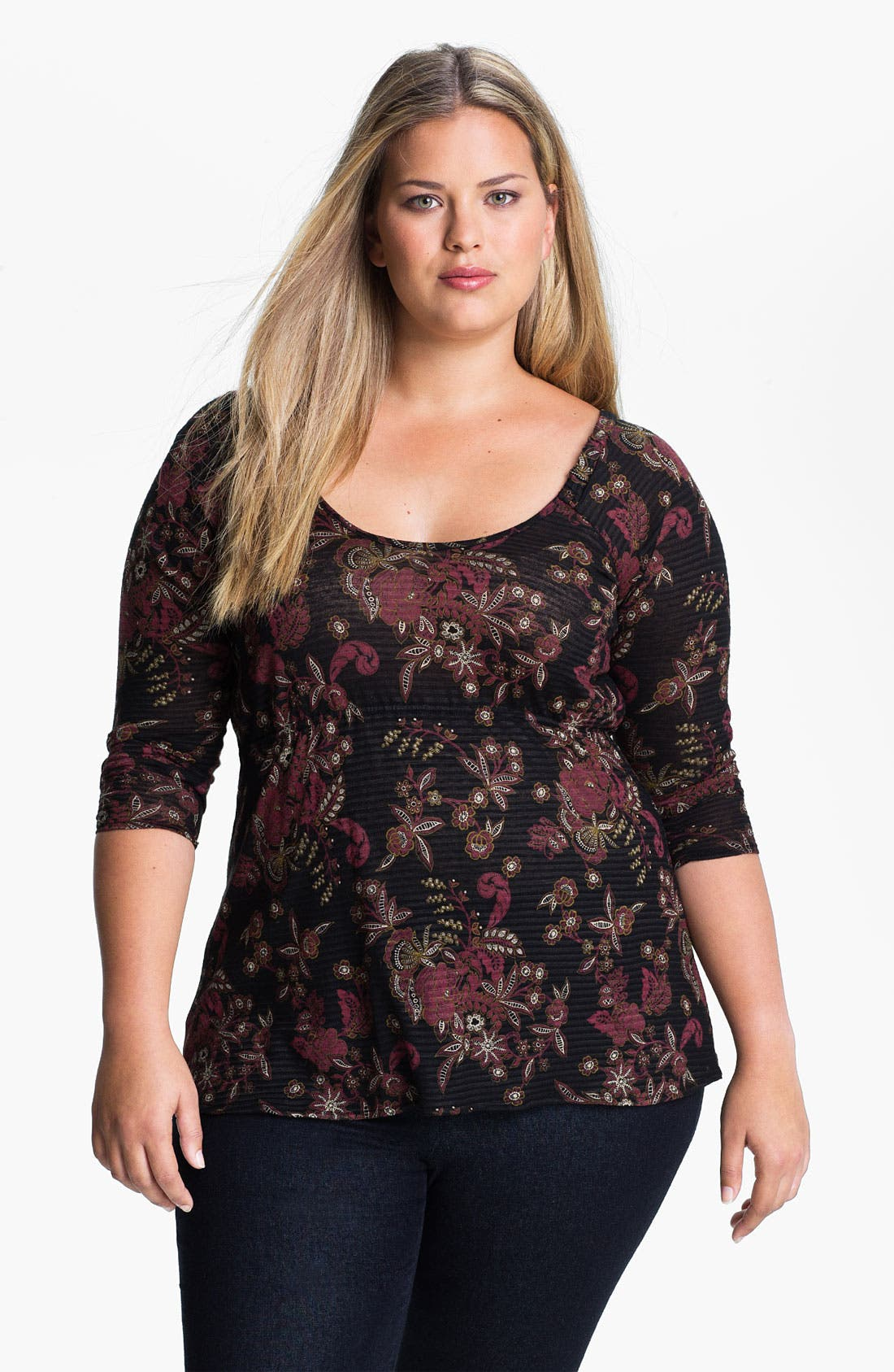 Alternate Image 1 Selected - Lucky Brand 'Lace Shadows Hera' Top (Plus)