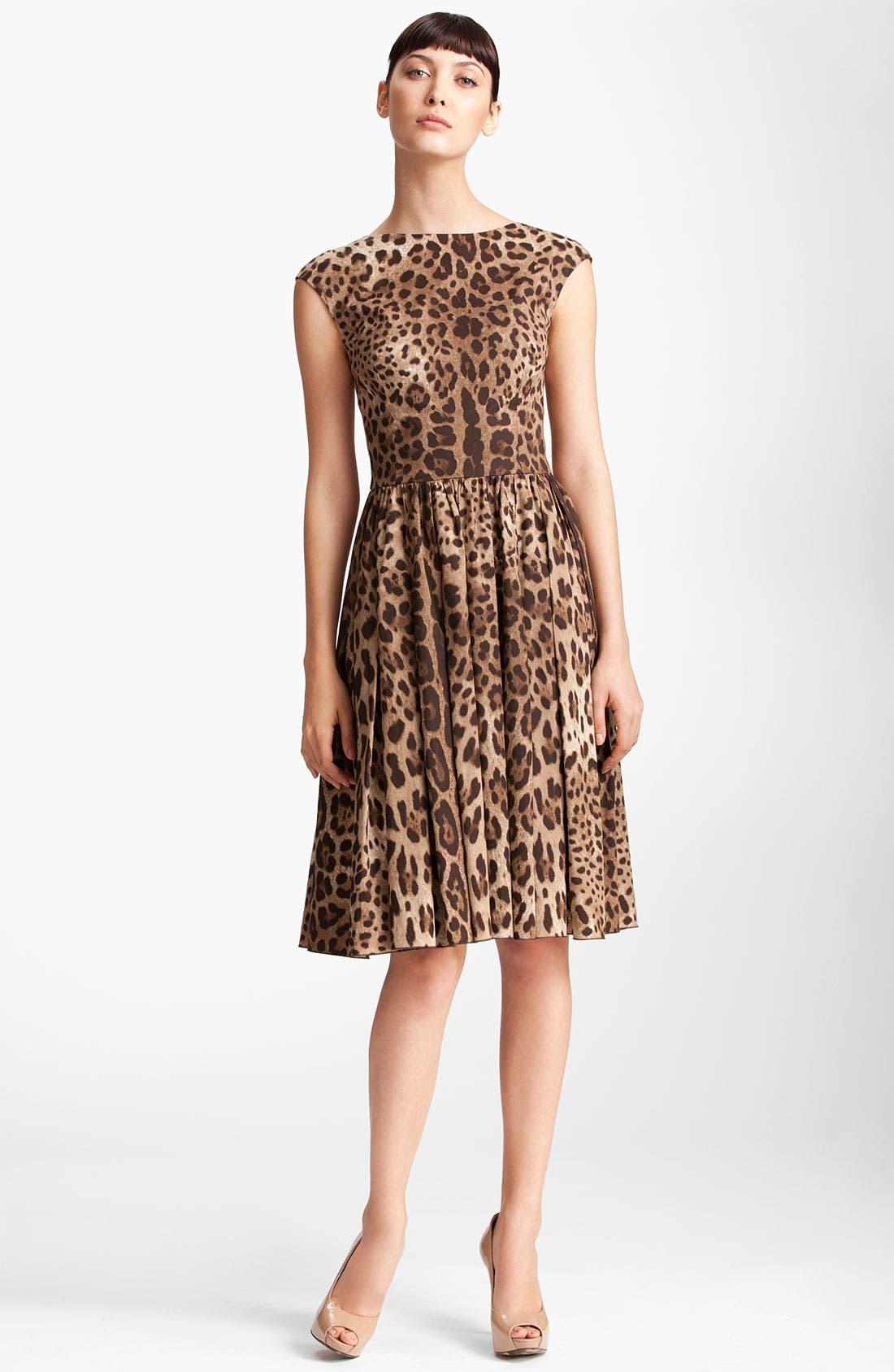 Alternate Image 1 Selected - Dolce&Gabbana Leopard Print Full Skirt Dress