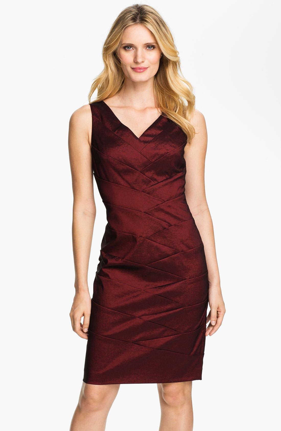 Main Image - Adrianna Papell V-Neck Shutter Tuck Sheath Dress