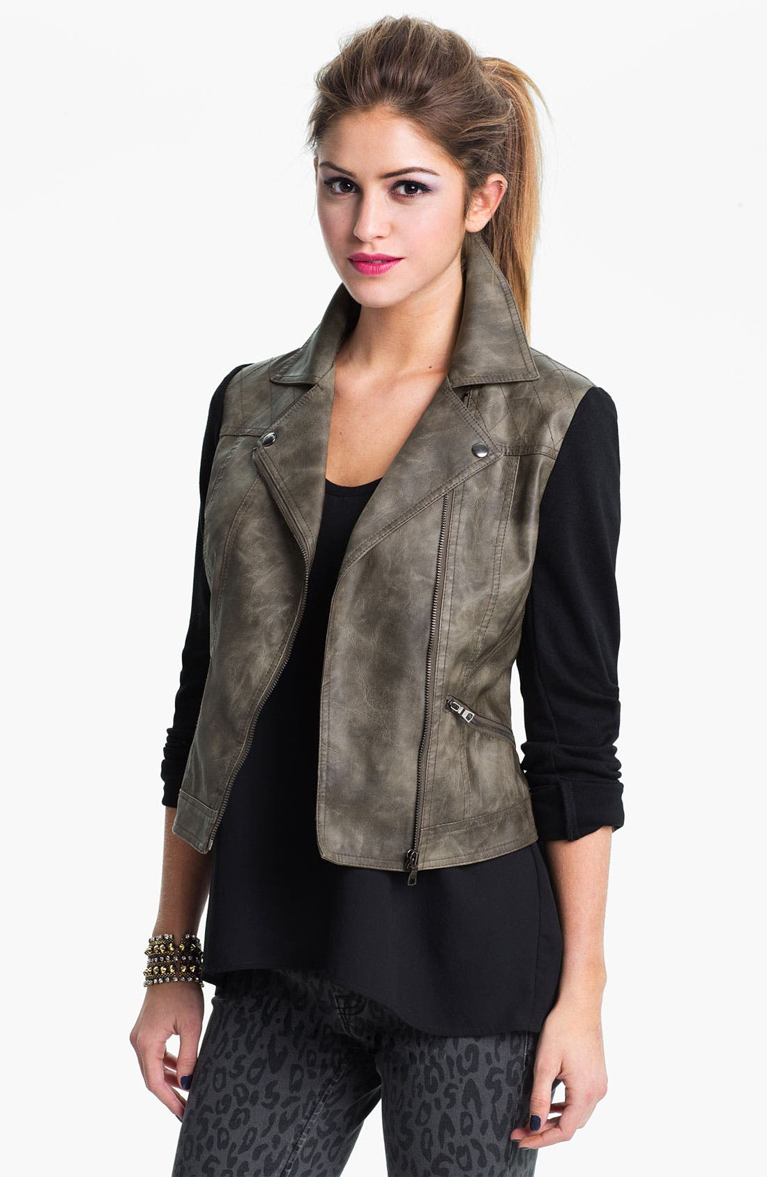 Main Image - Collection B Faux Leather & Ponte Jacket (Juniors)