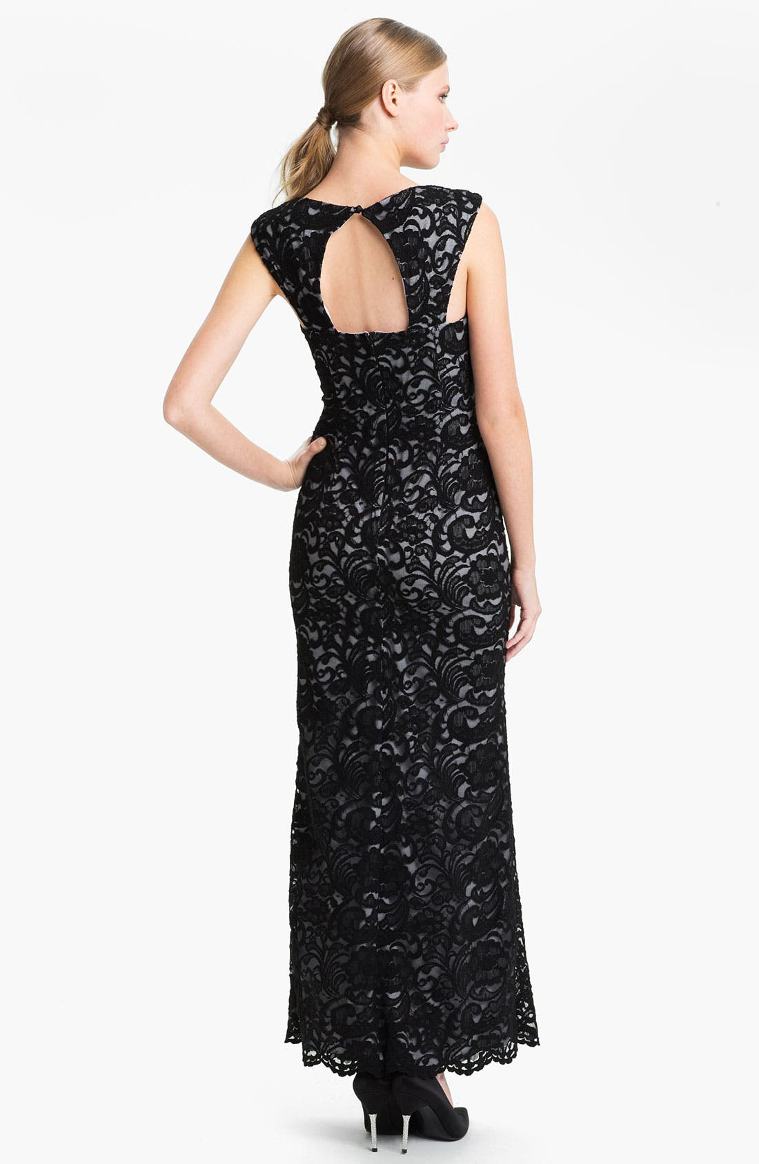 Alternate Image 2  - Xscape Back Cutout Lace Column Gown