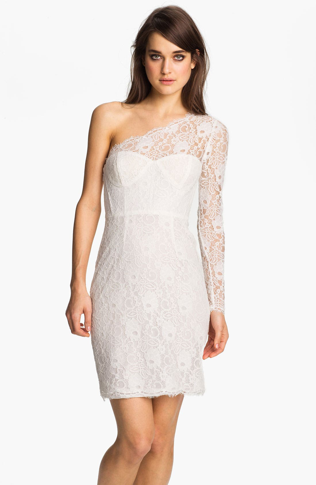 Main Image - BCBGMAXAZRIA One Sleeve Bustier Lace Sheath Dress