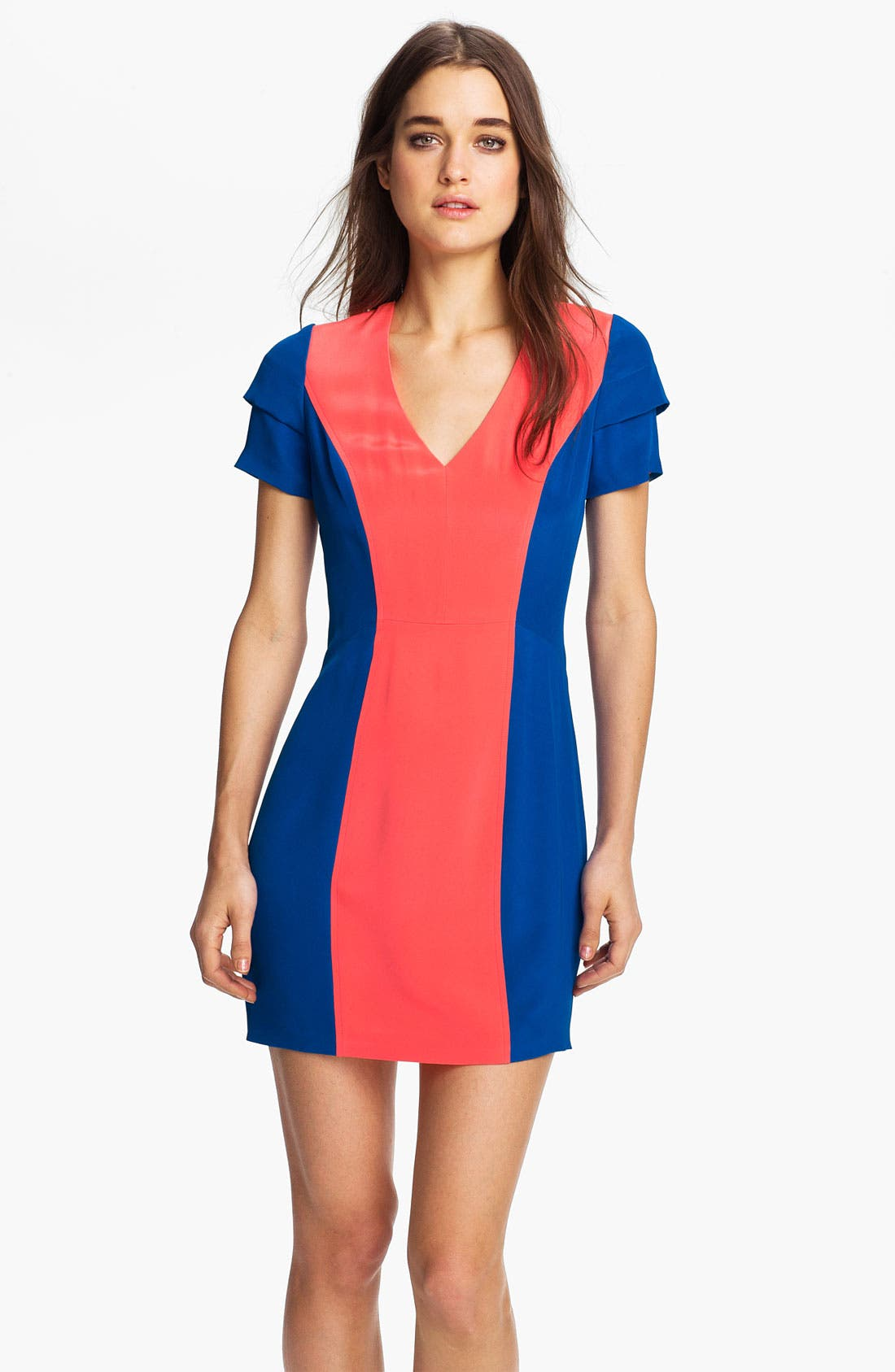 Alternate Image 1 Selected - Rebecca Minkoff 'Katya' Colorblock Silk Dress