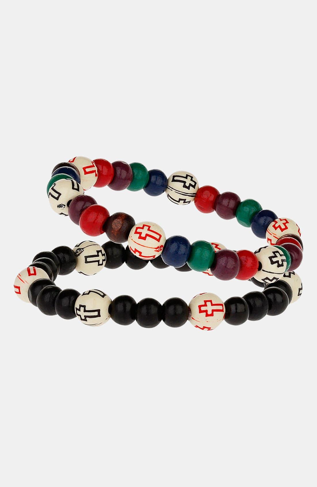 Alternate Image 1 Selected - Topman Cross Print Bead Bracelets (Set of 2)