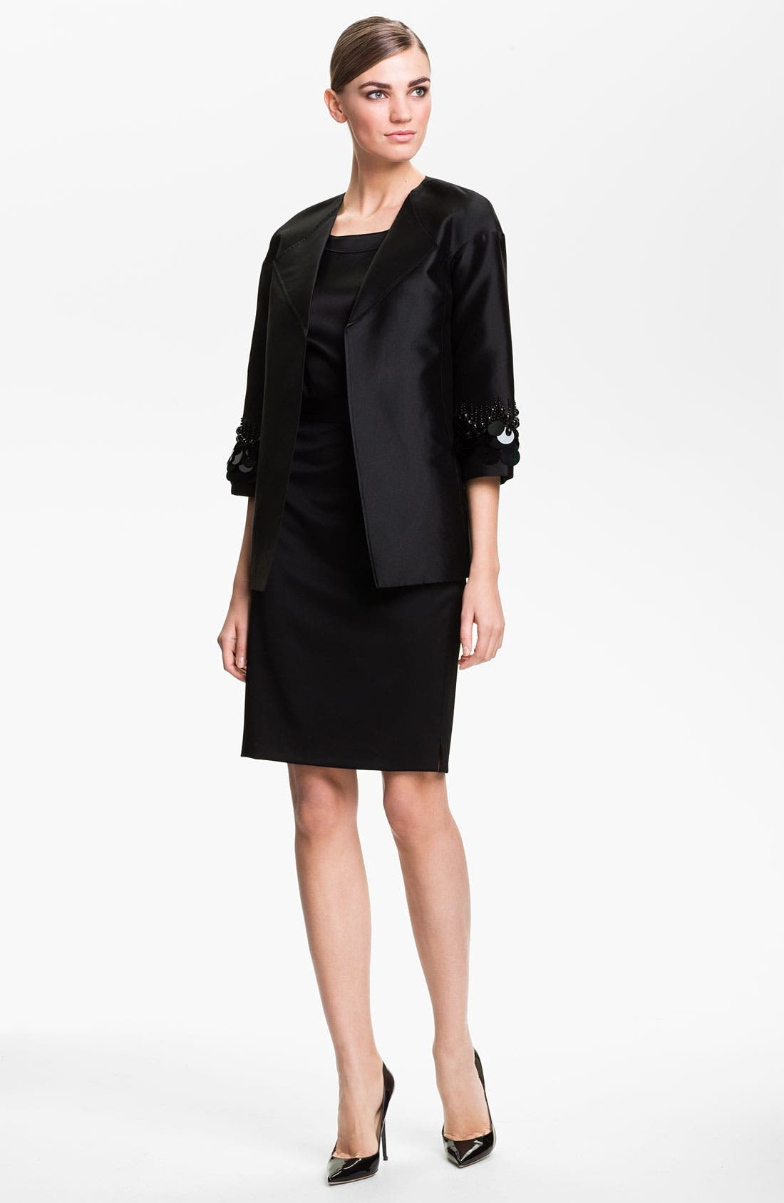 Alternate Image 2  - St. John Collection Sequin Embroidered Mikado Jacket