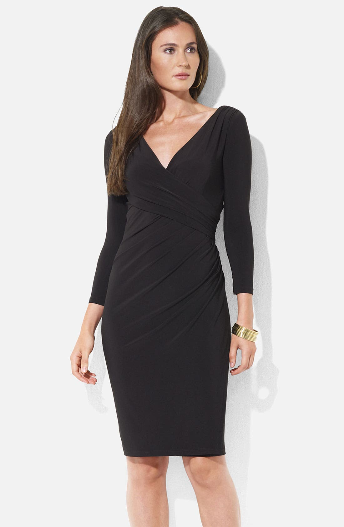 Alternate Image 1 Selected - Lauren Ralph Lauren Ruched Surplice Jersey Sheath Dress