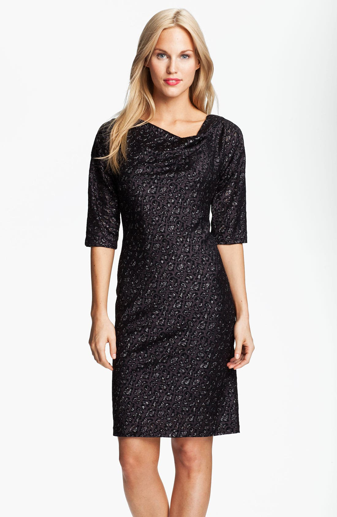 Alternate Image 1 Selected - Adrianna Papell Cowl Neck Metallic Jacquard Dress