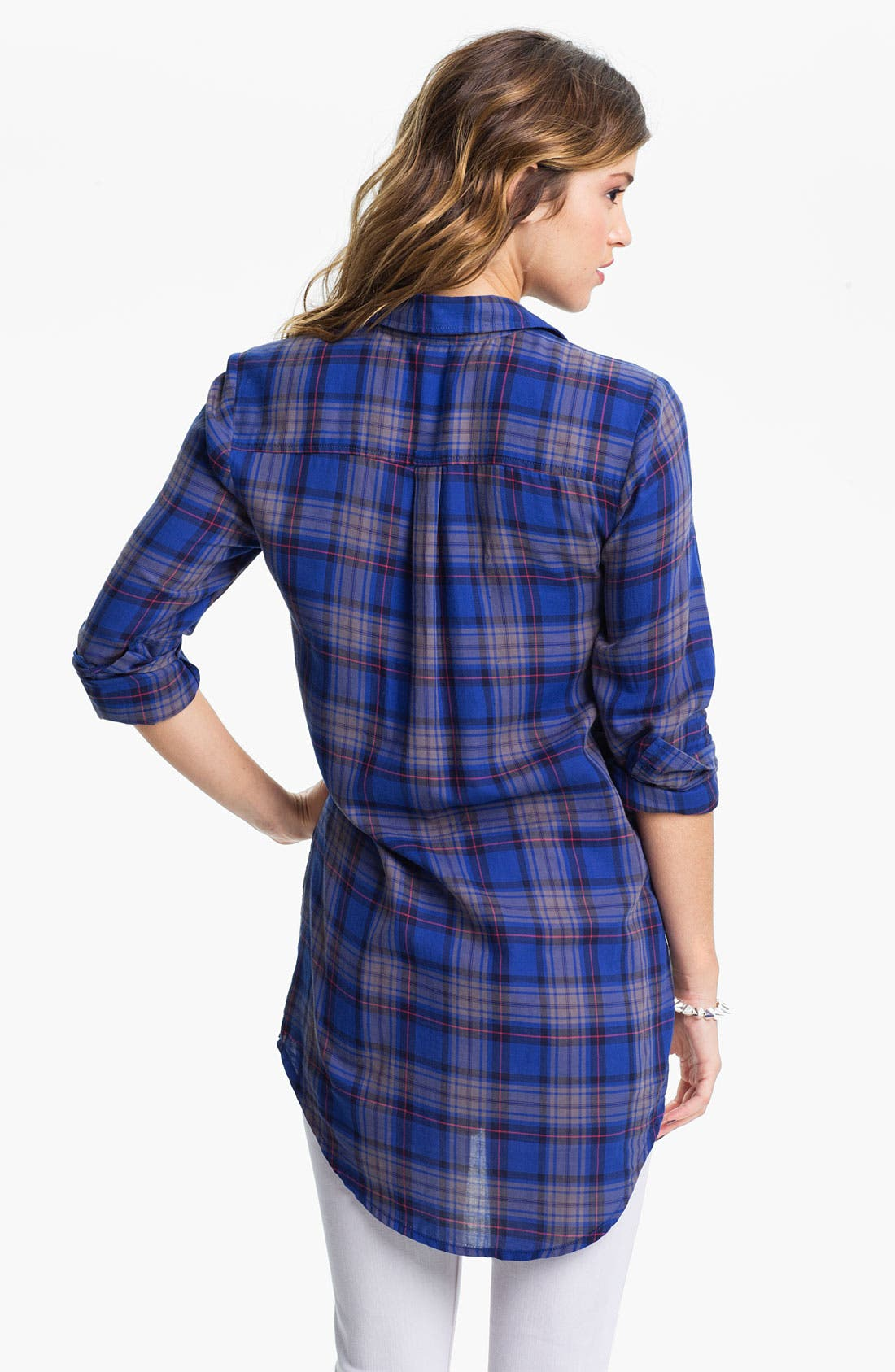 Alternate Image 2  - Rubbish® Plaid Shirt Tunic (Juniors)