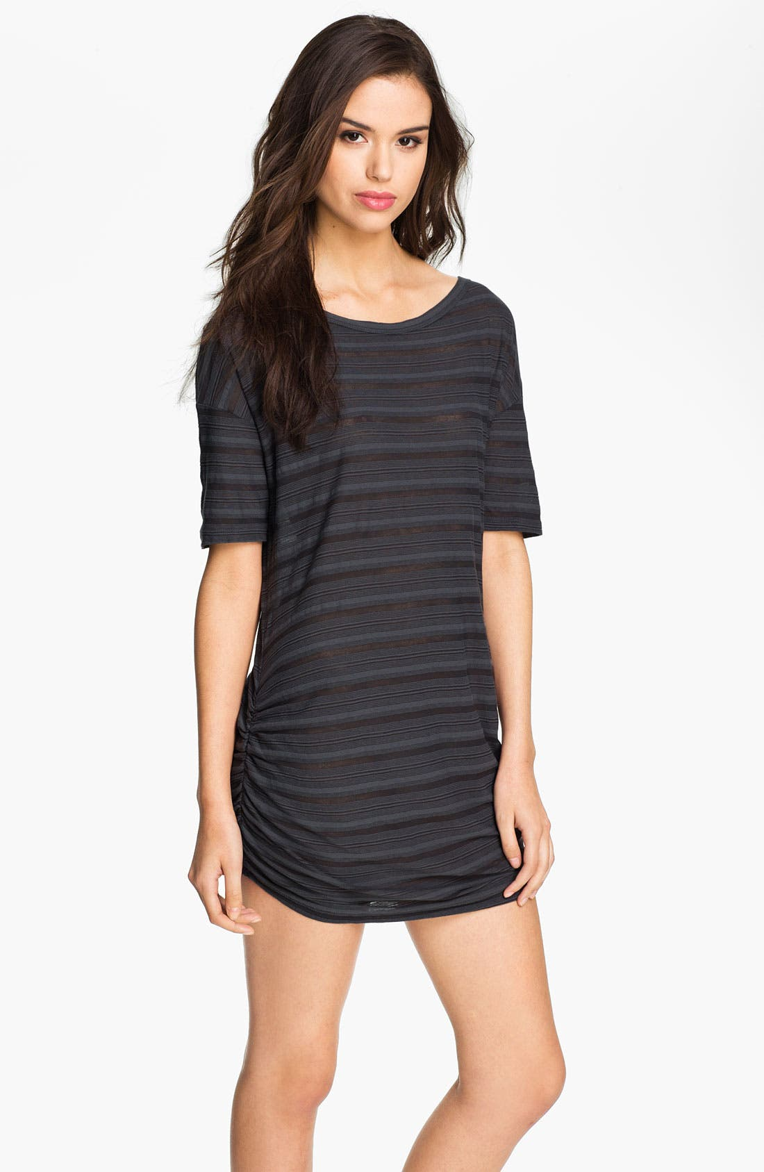 Main Image - James Perse Sheer Stripe Ruched Tunic Dress