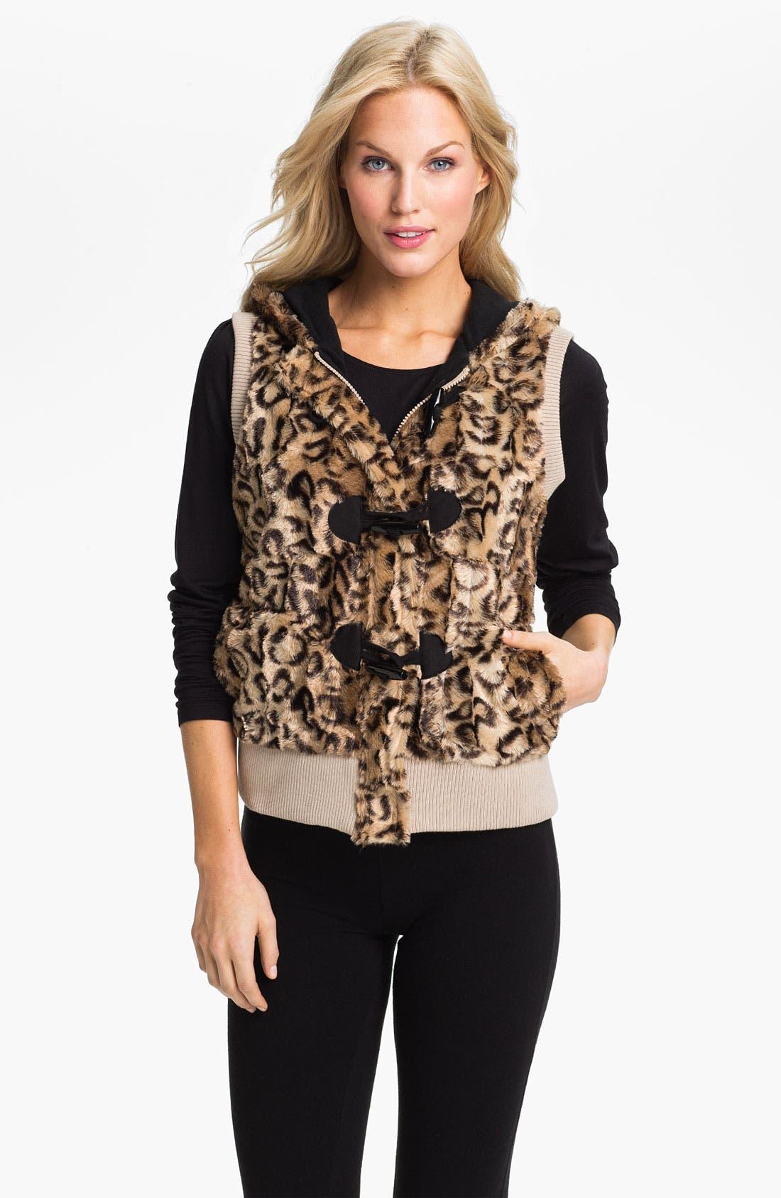 Main Image - PJ Luxe Faux Leopard Fur Vest