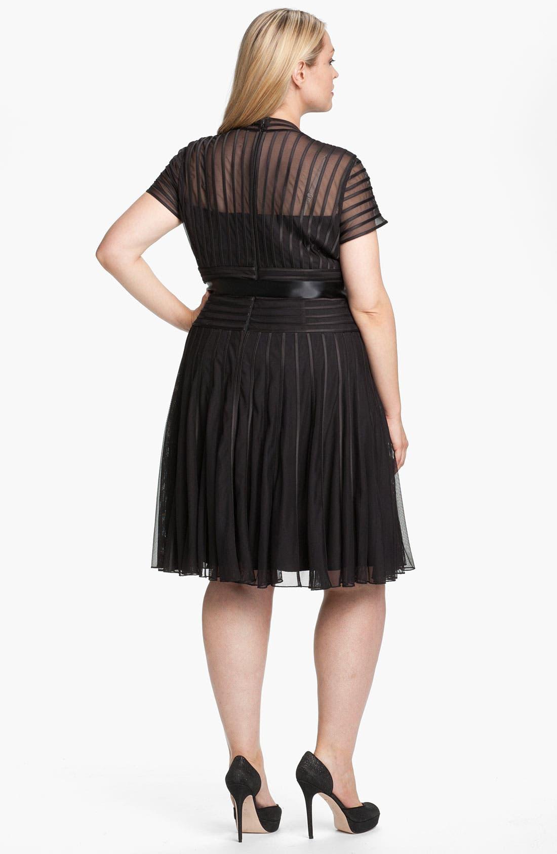 Alternate Image 2  - JS Collections Ribbon Trim Mesh Sweetheart Dress (Plus)