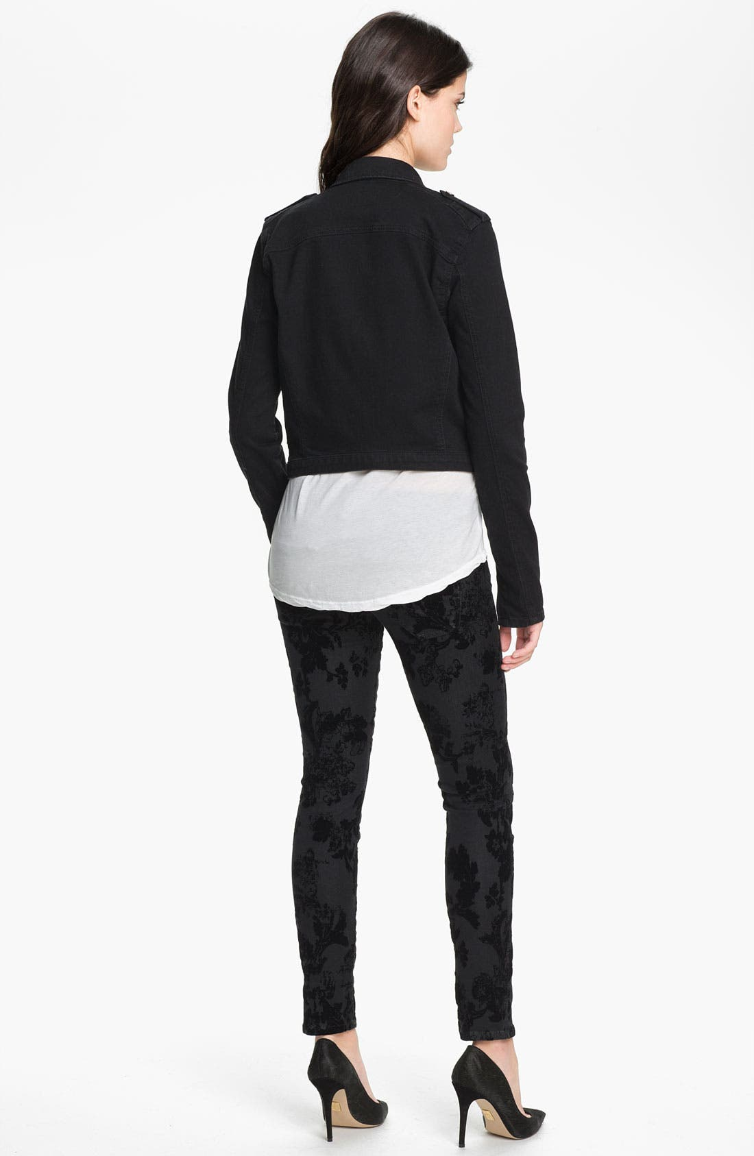 Alternate Image 5  - Current/Elliott Ankle Zip Skinny Jeans (Black Velvet Floral)