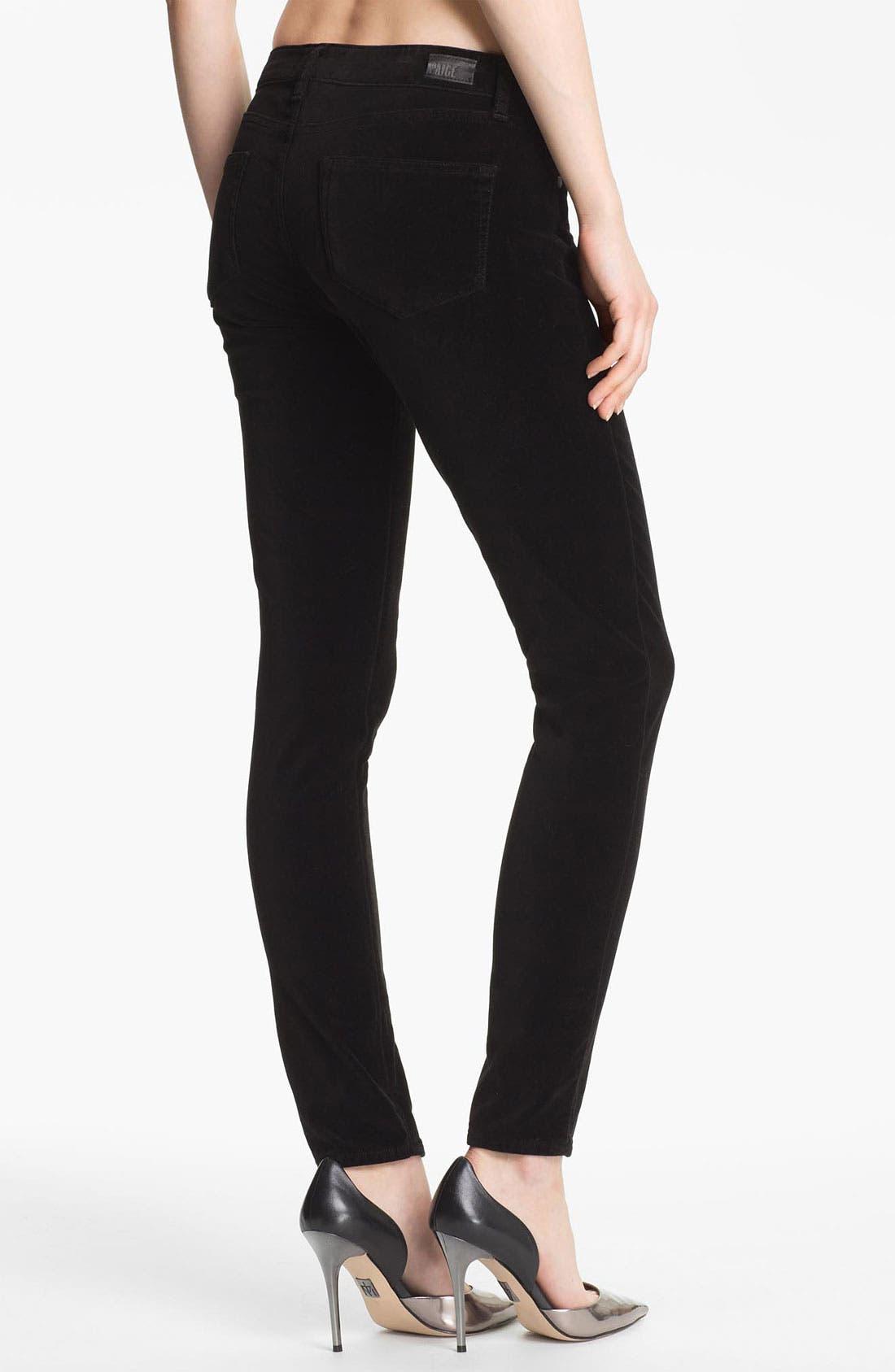 Alternate Image 2  - Paige Denim 'Verdugo' Stretch Velvet Skinny Pants (Black)
