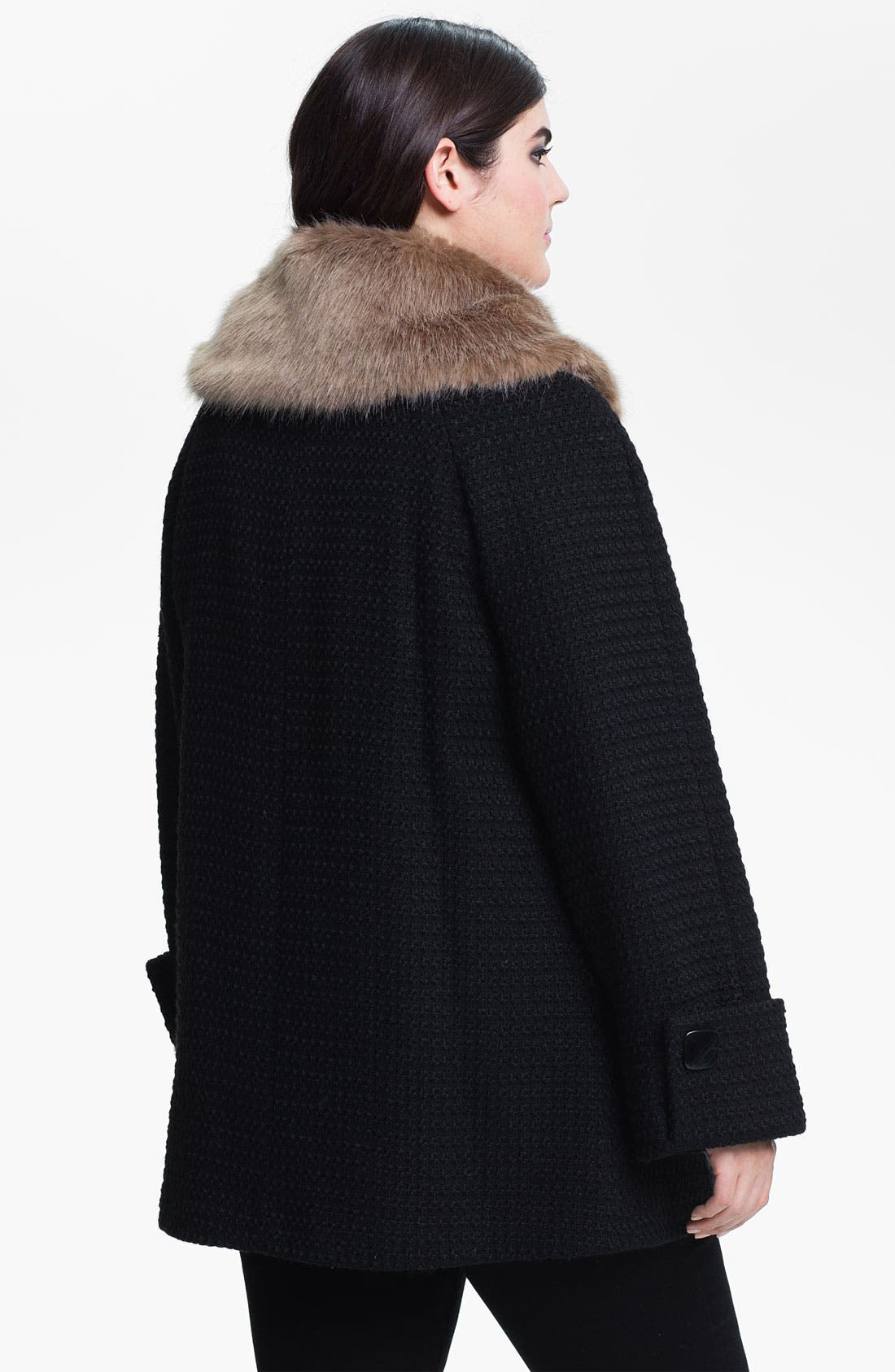 Alternate Image 2  - Evans Textured Coat with Faux Fur Collar (Plus Size)