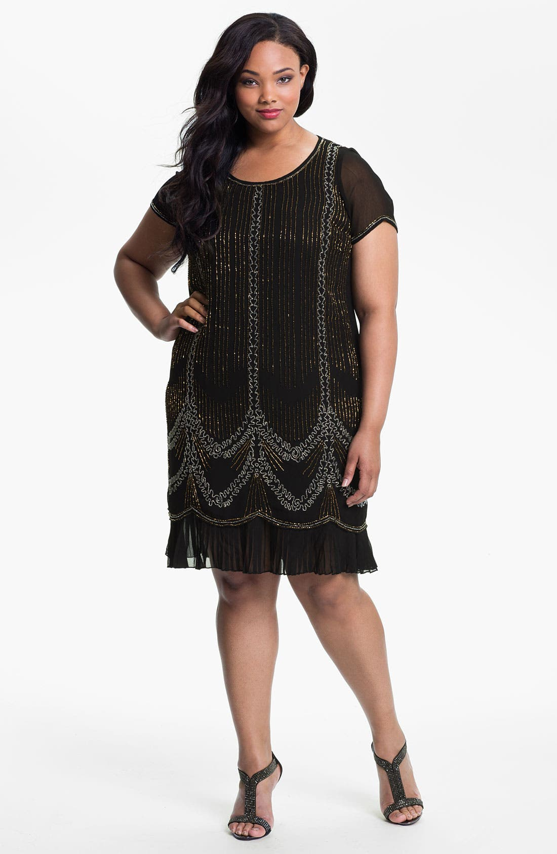 Main Image - Evans Beaded Shift Dress (Plus Size)