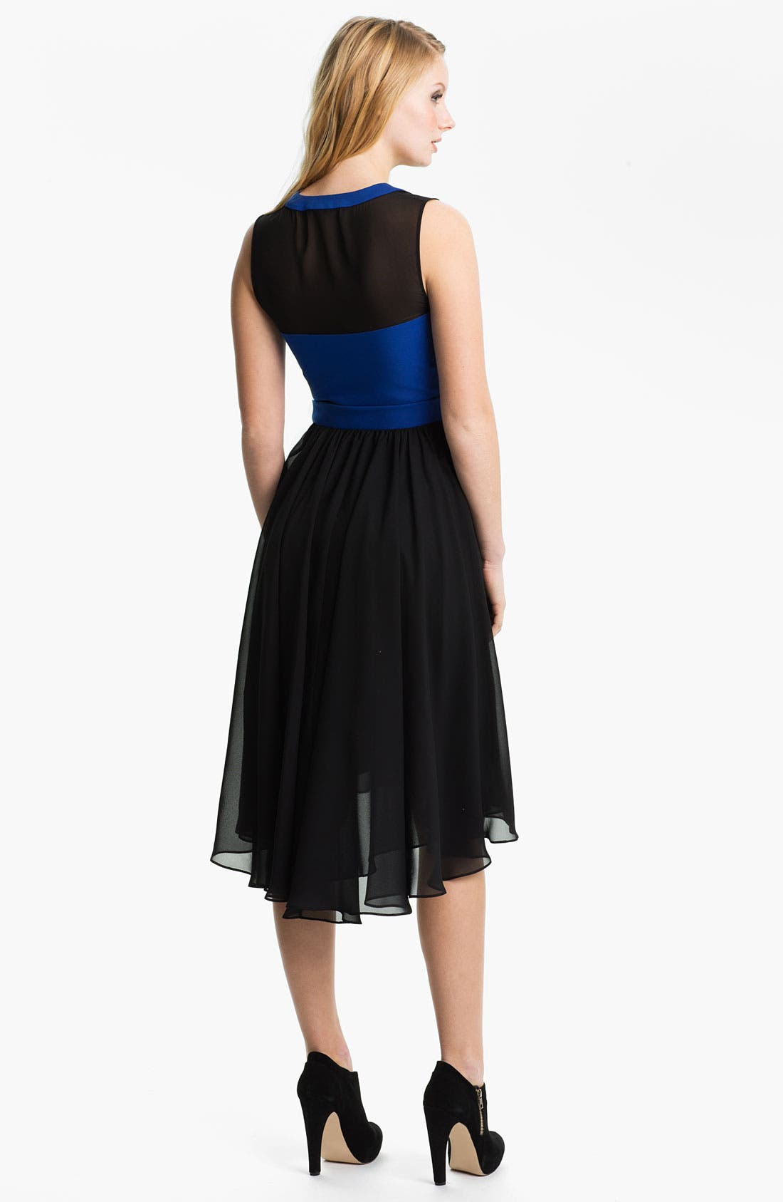Alternate Image 2  - Black Halo High/Low Chiffon Fit & Flare Dress