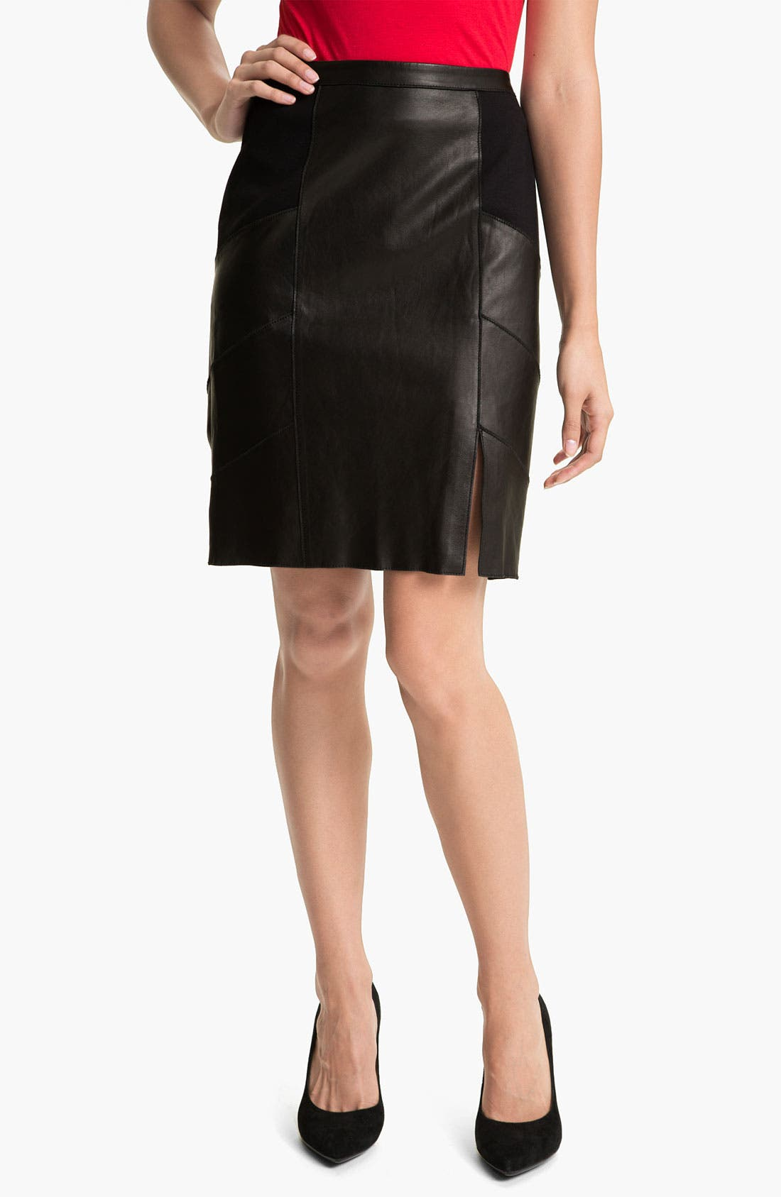 Main Image - Halogen® Leather & Ponte Pencil Skirt (Petite)