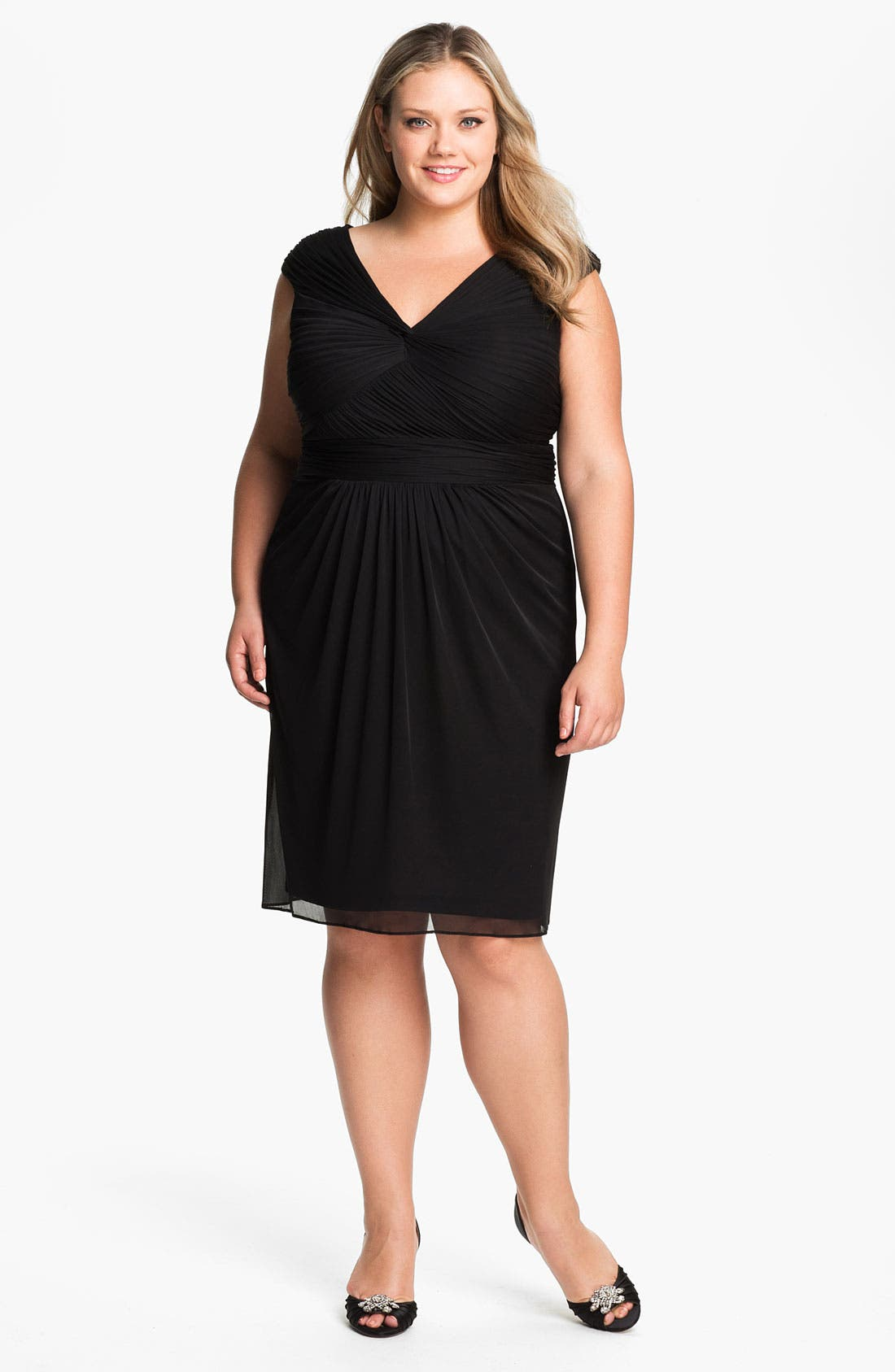 Main Image - Adrianna Papell Twist Front Mesh Dress (Plus)