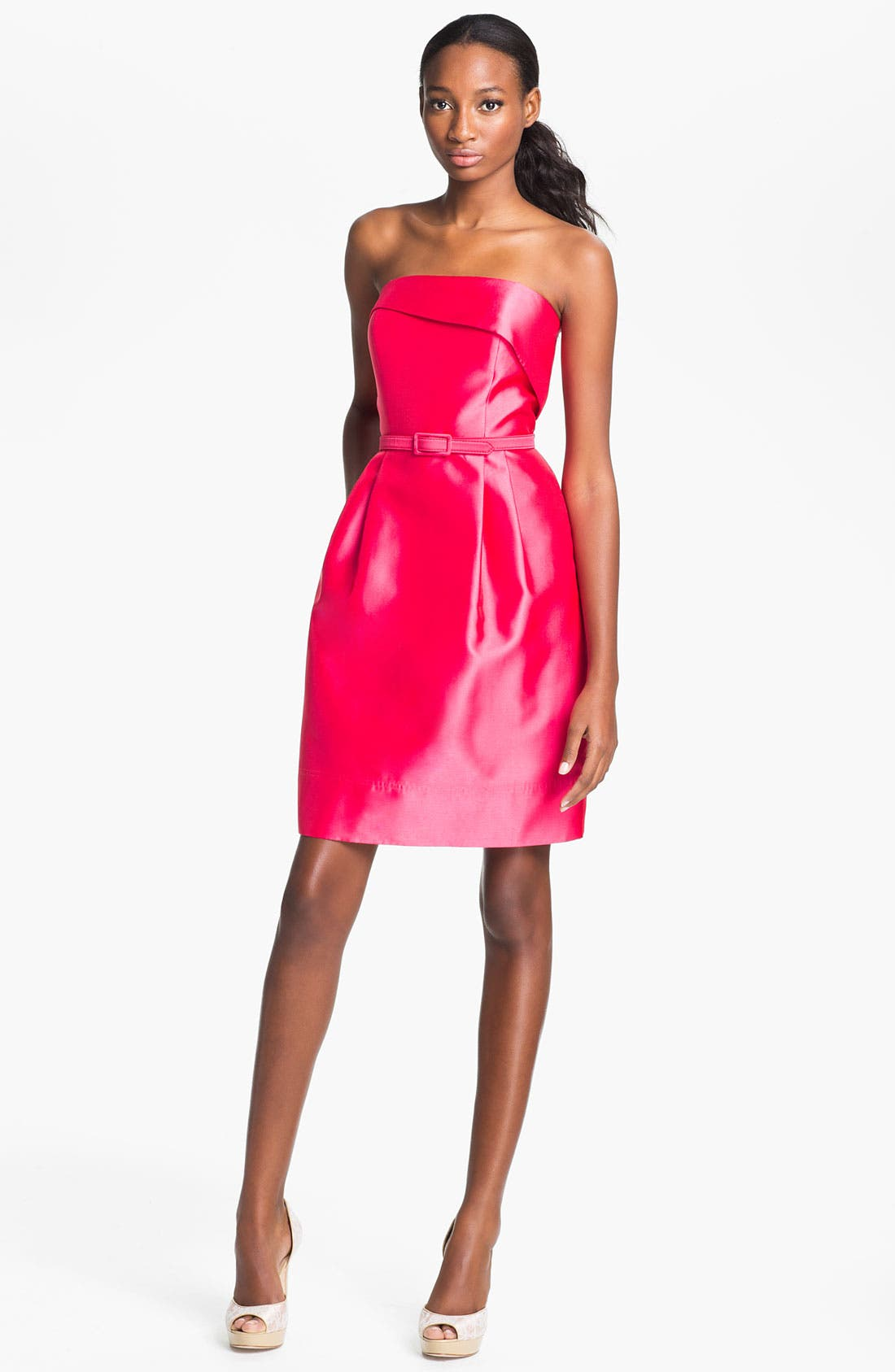 Main Image - Eliza J Strapless Foldover Faille Tulip Dress