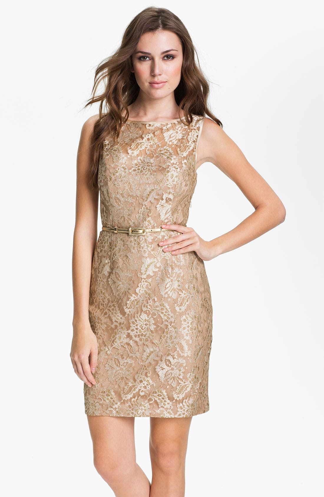 Main Image - Maggy London Back Cutout Metallic Lace Sheath Dress