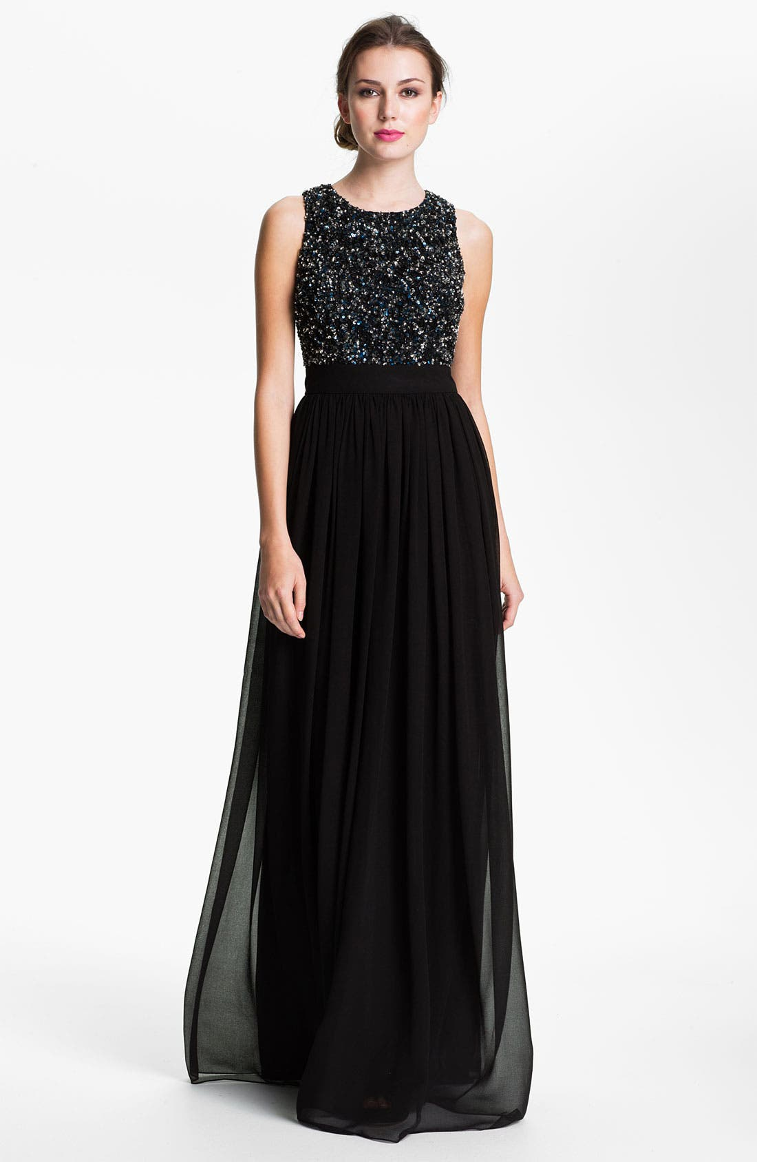 Alternate Image 1 Selected - Adrianna Papell Open Back Sequin & Chiffon Gown