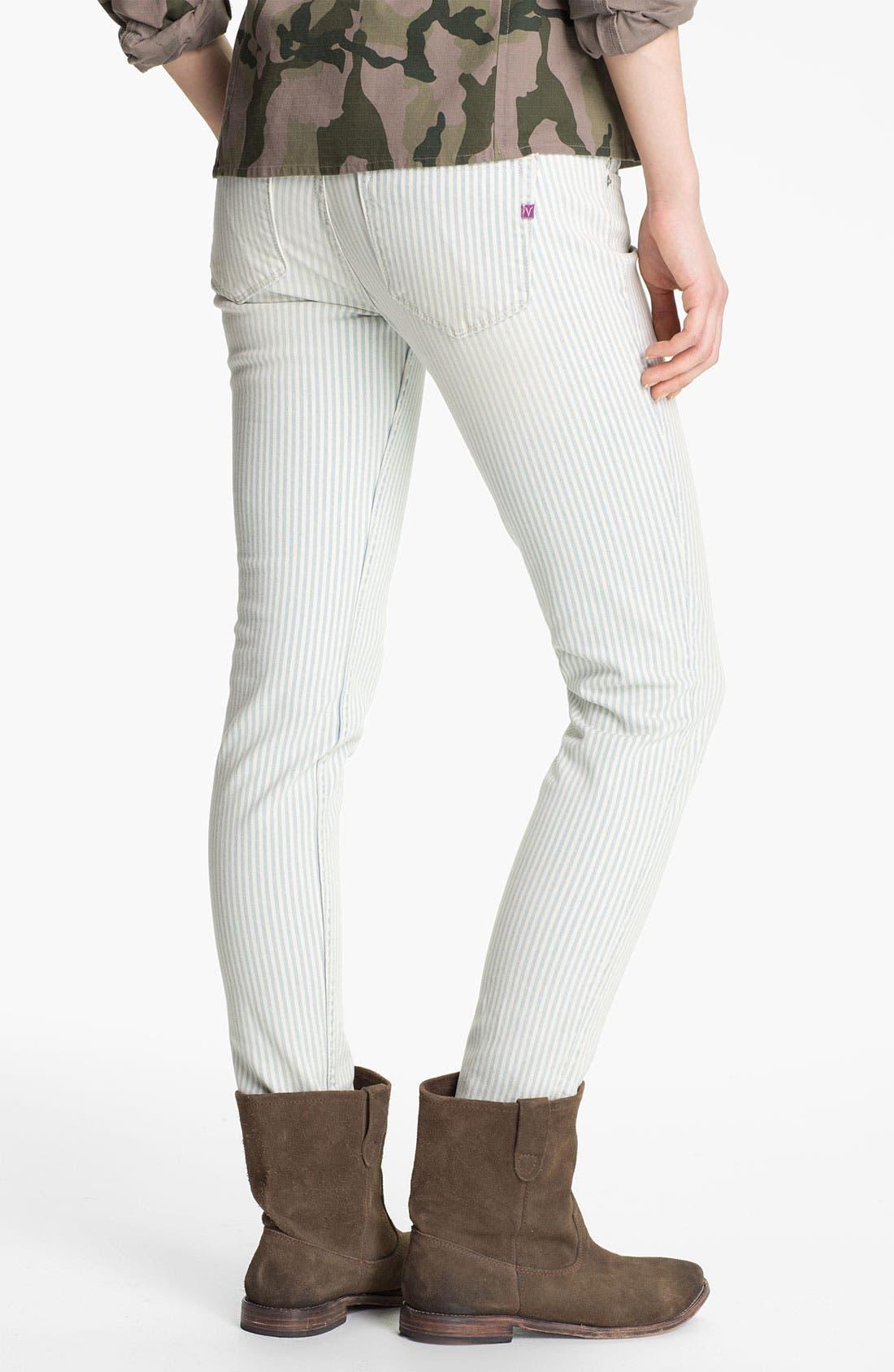 Alternate Image 1 Selected - Vigoss Stripe Skinny Jeans (Juniors)