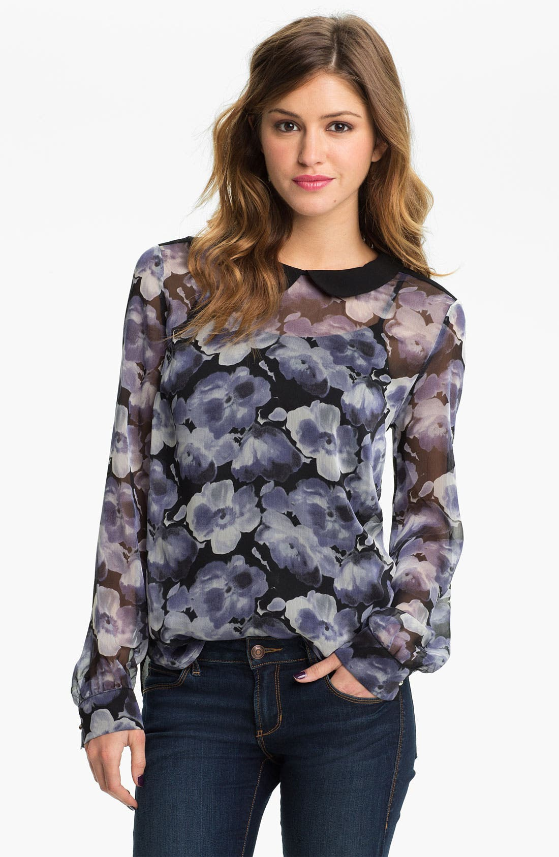 Alternate Image 1 Selected - Chloe K Print Chiffon Blouse (Juniors)