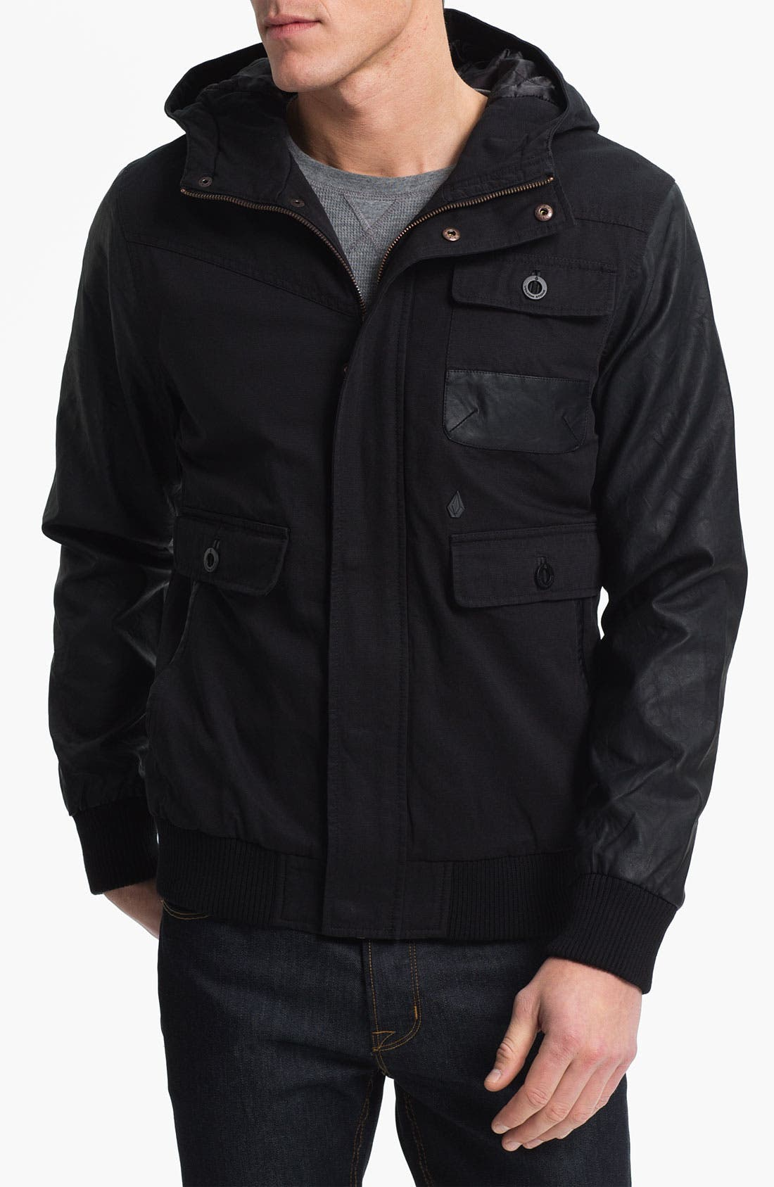 Alternate Image 1 Selected - Volcom Faux Leather Trim Jacket