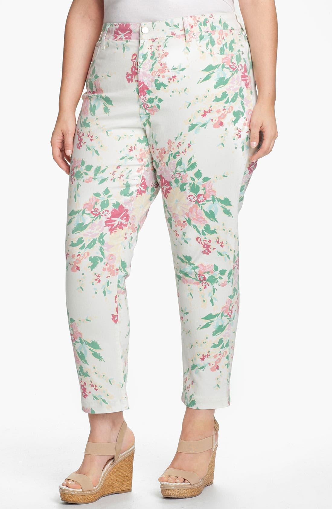 Main Image - NYDJ 'Audrey' Floral Print Ankle Jeans (Plus)