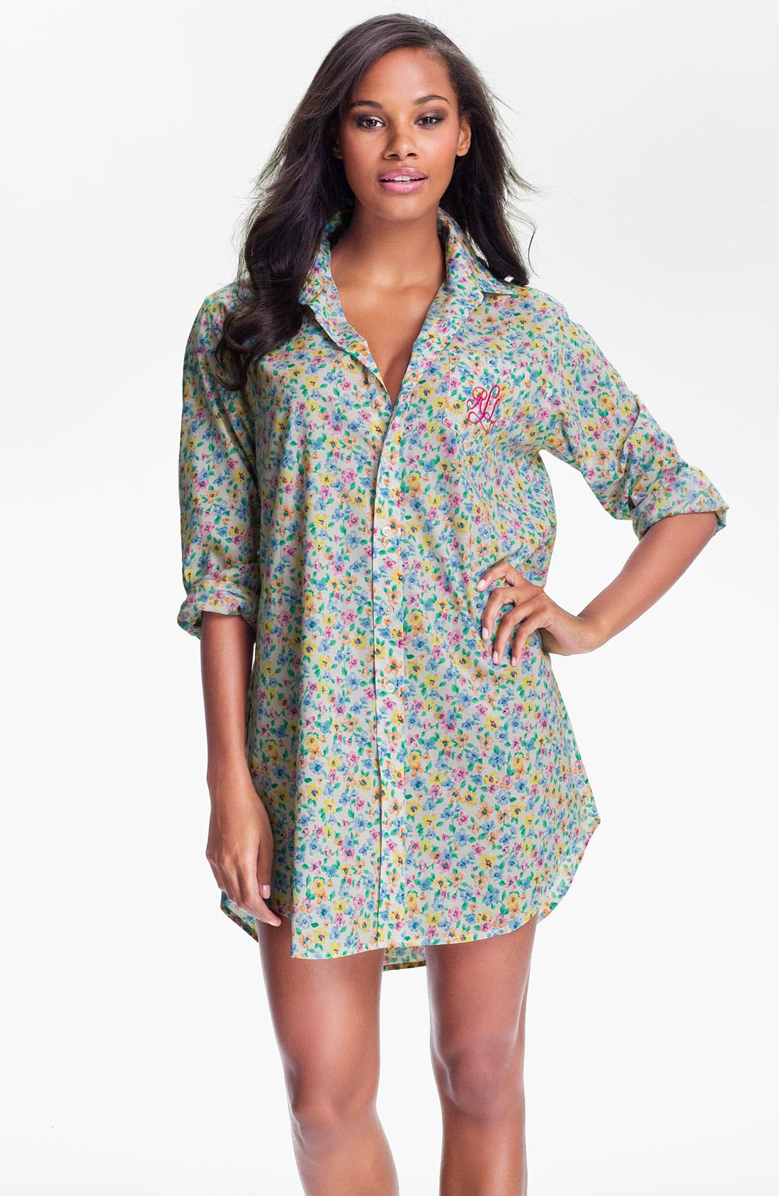 Alternate Image 1 Selected - Lauren Ralph Lauren Sleepwear Floral Print Nightshirt