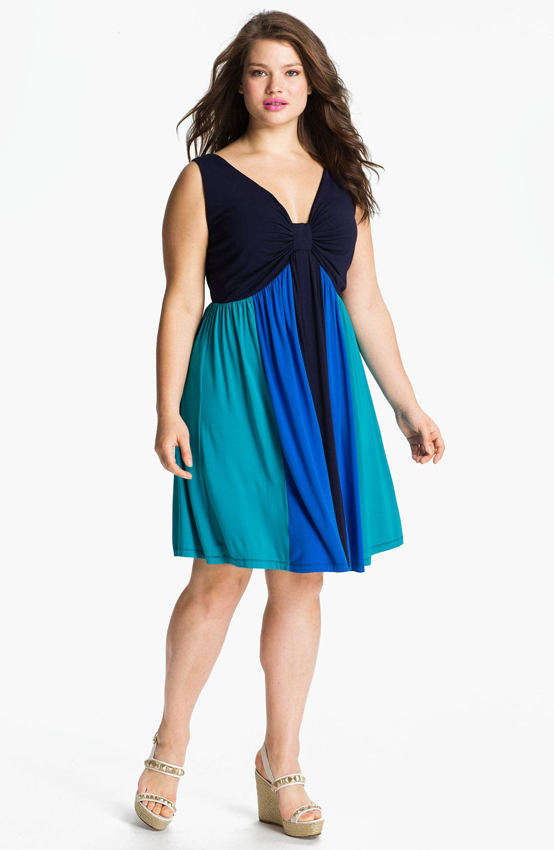 Alternate Image 1 Selected - Calvin Klein Multicolor Sleeveless Jersey Dress (Plus Size)