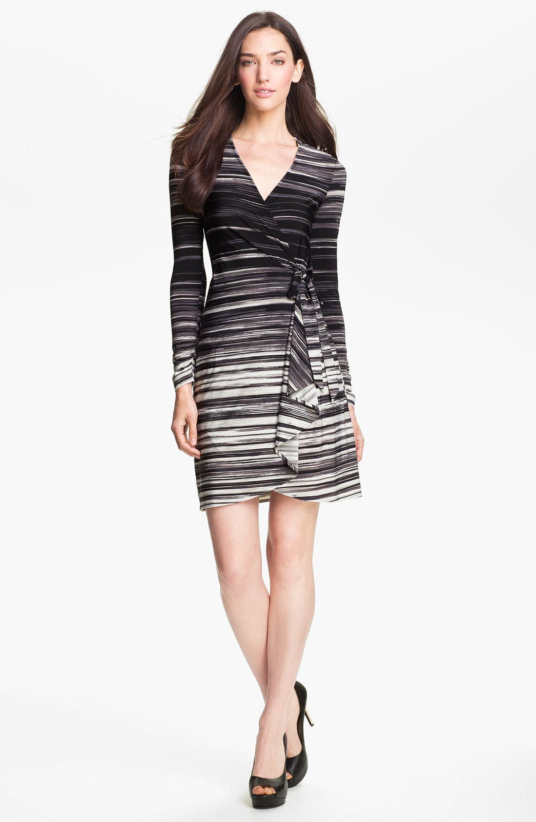 Main Image - BCBGMAXAZRIA Stripe Jersey Wrap Dress