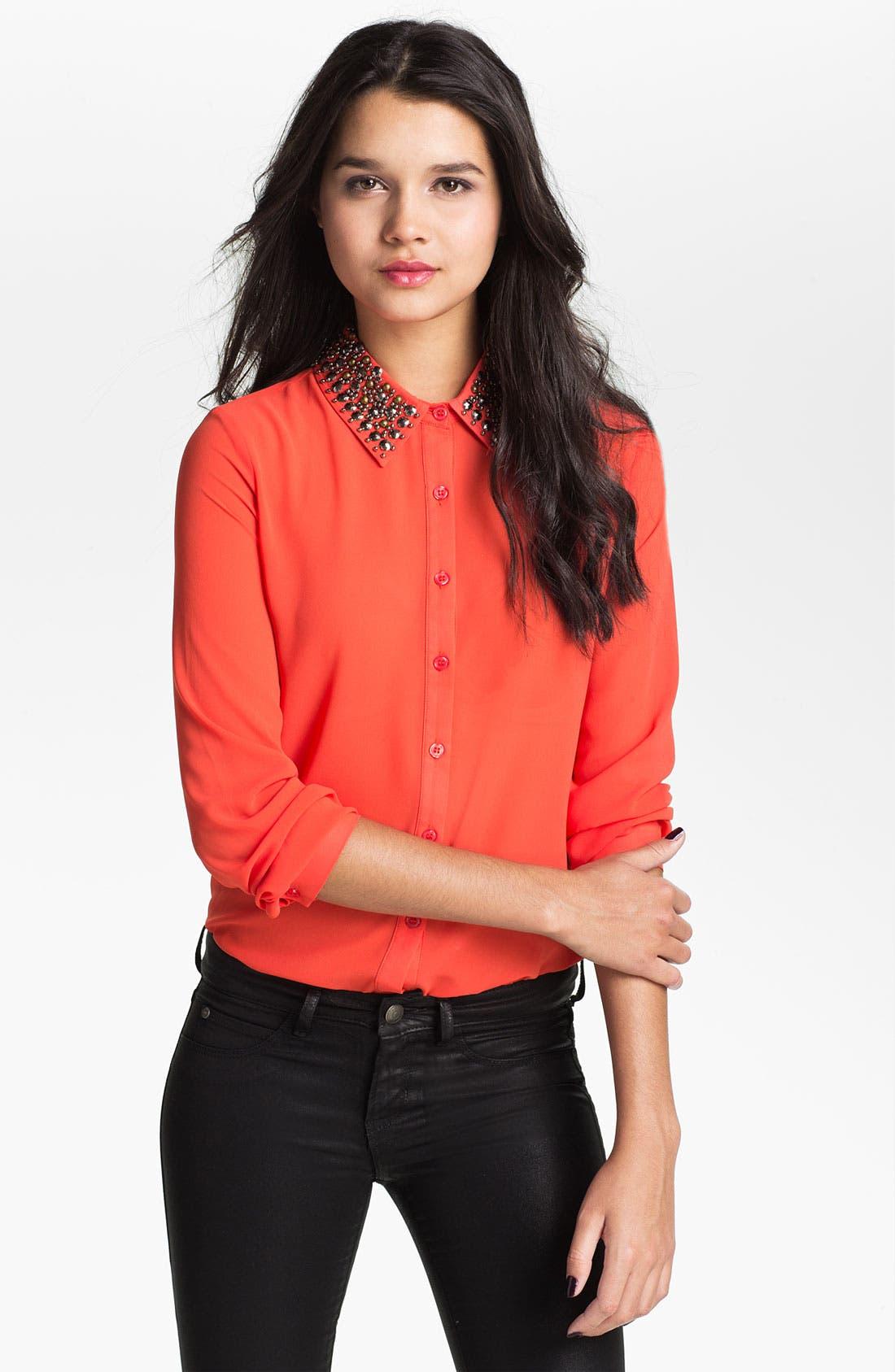 Alternate Image 1 Selected - Lush Embellished Collar Shirt (Juniors)