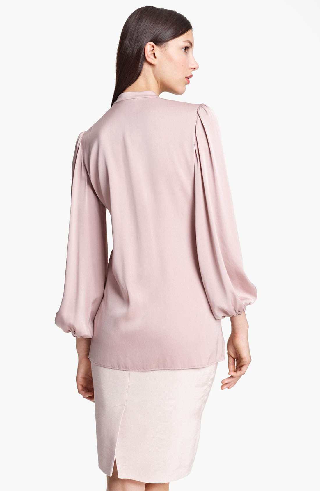 Alternate Image 2  - Armani Collezioni Pleated Stretch Silk Blouse