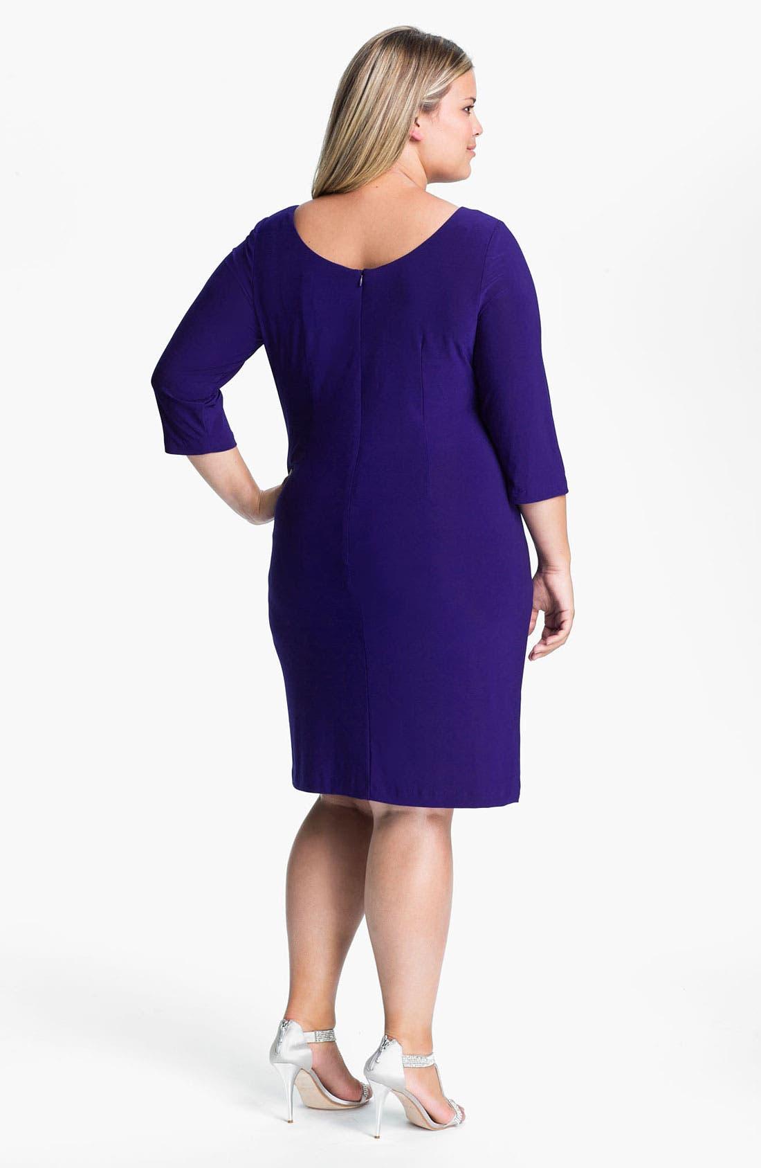Alternate Image 2  - Alex Evenings Jeweled Matte Jersey Dress (Plus)